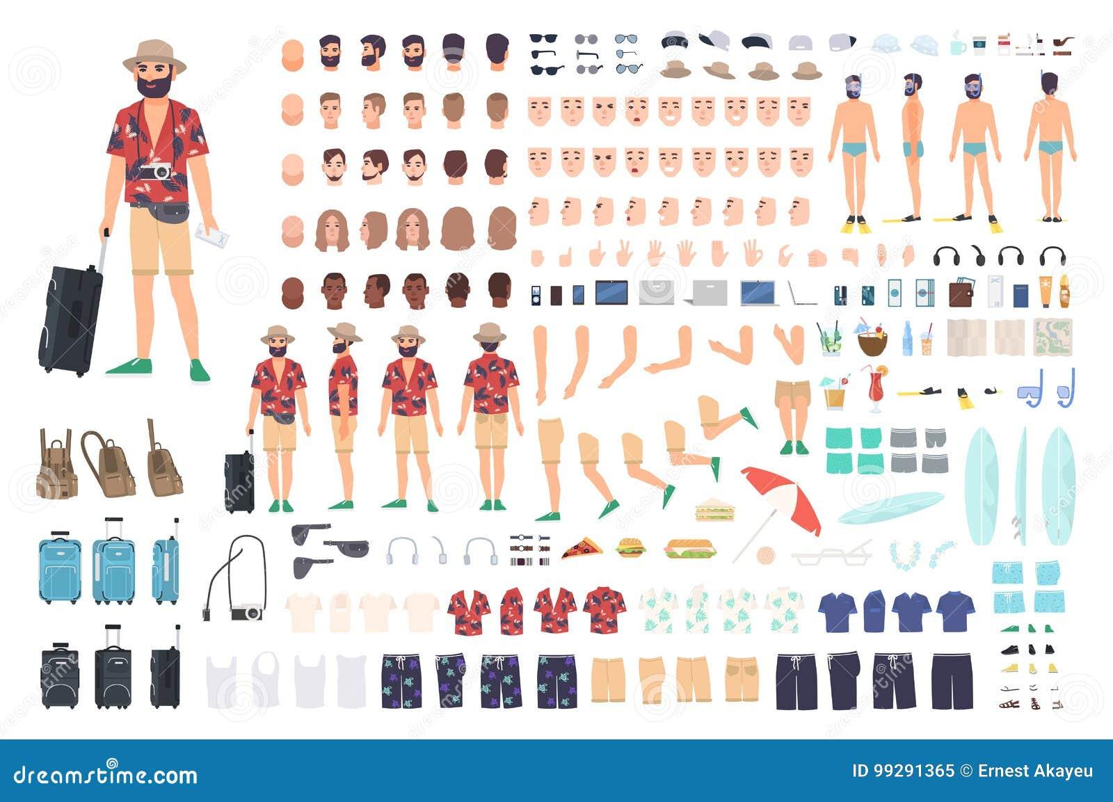 Grupo da criação do turista ou jogo de DIY Coleção de partes do corpo do personagem de banda desenhada s, de cara com emoções dif