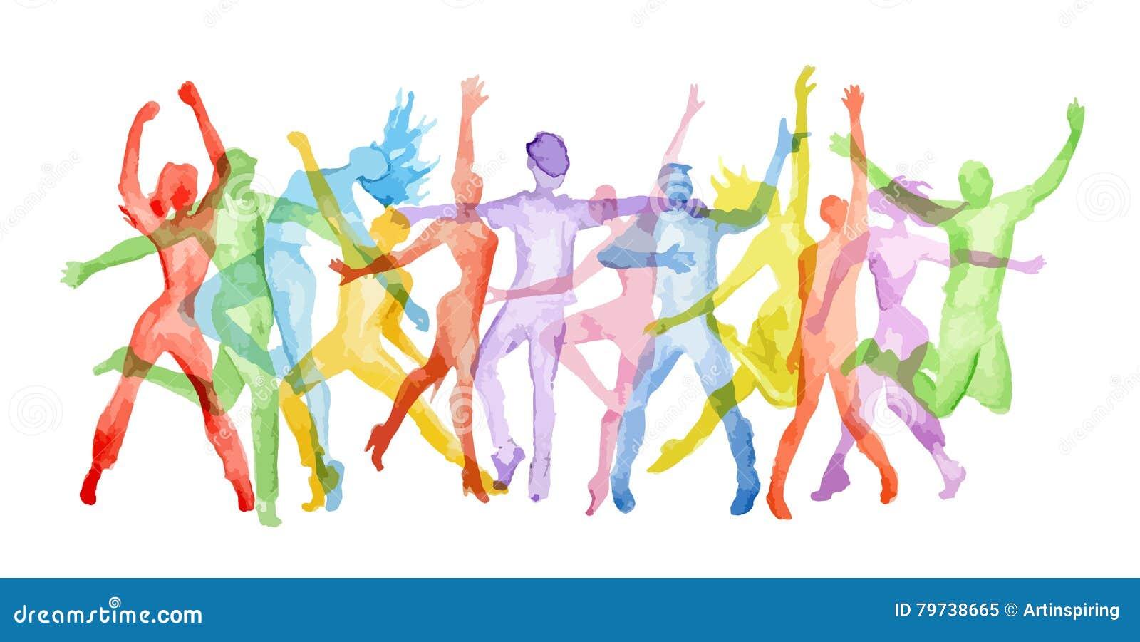 Grupo da dança da aquarela