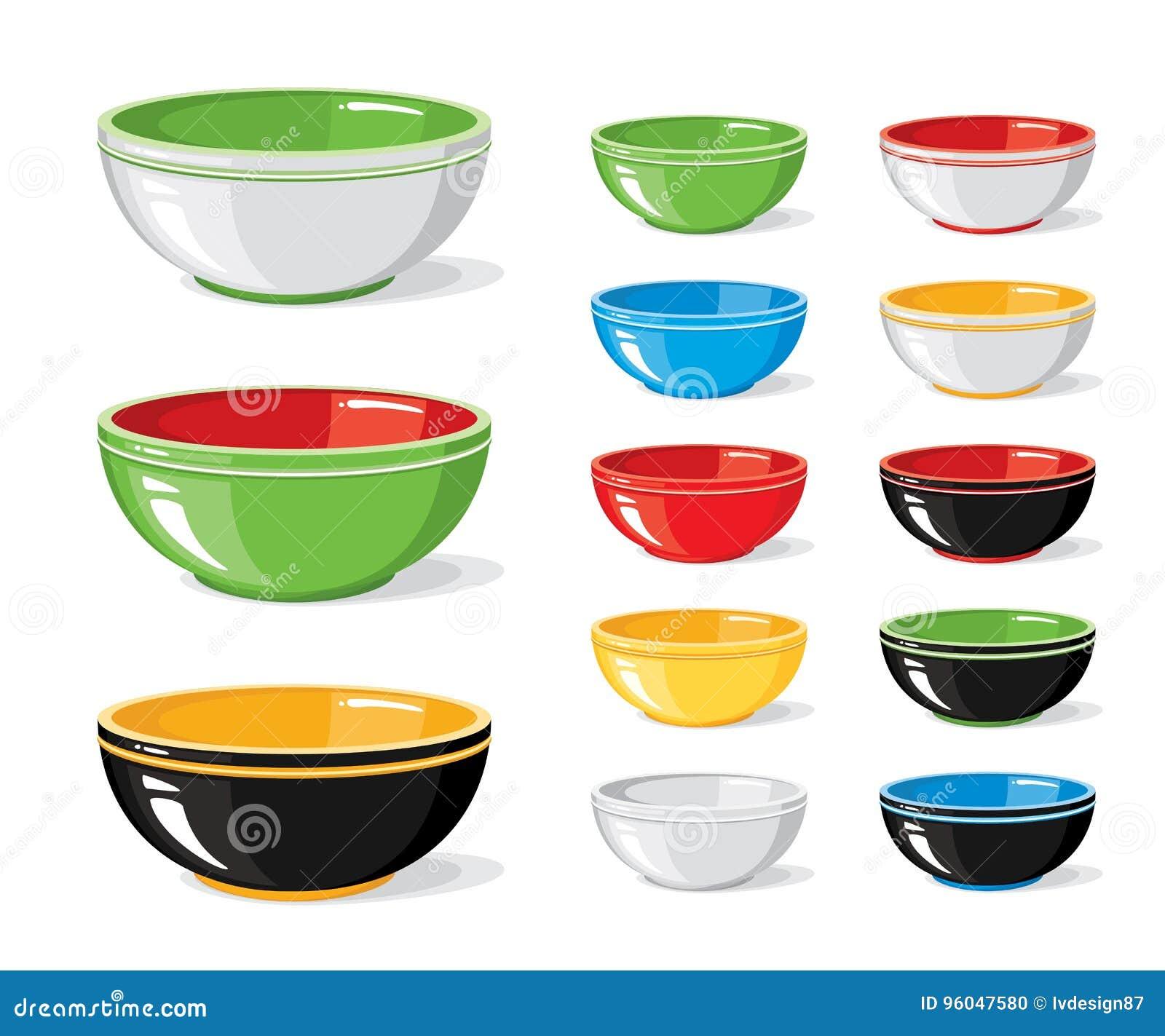 Grupo da ilustração do vetor de ícones do alimento Bacias vazias coloridas diferentes em um fundo branco Cozinhando a coleção