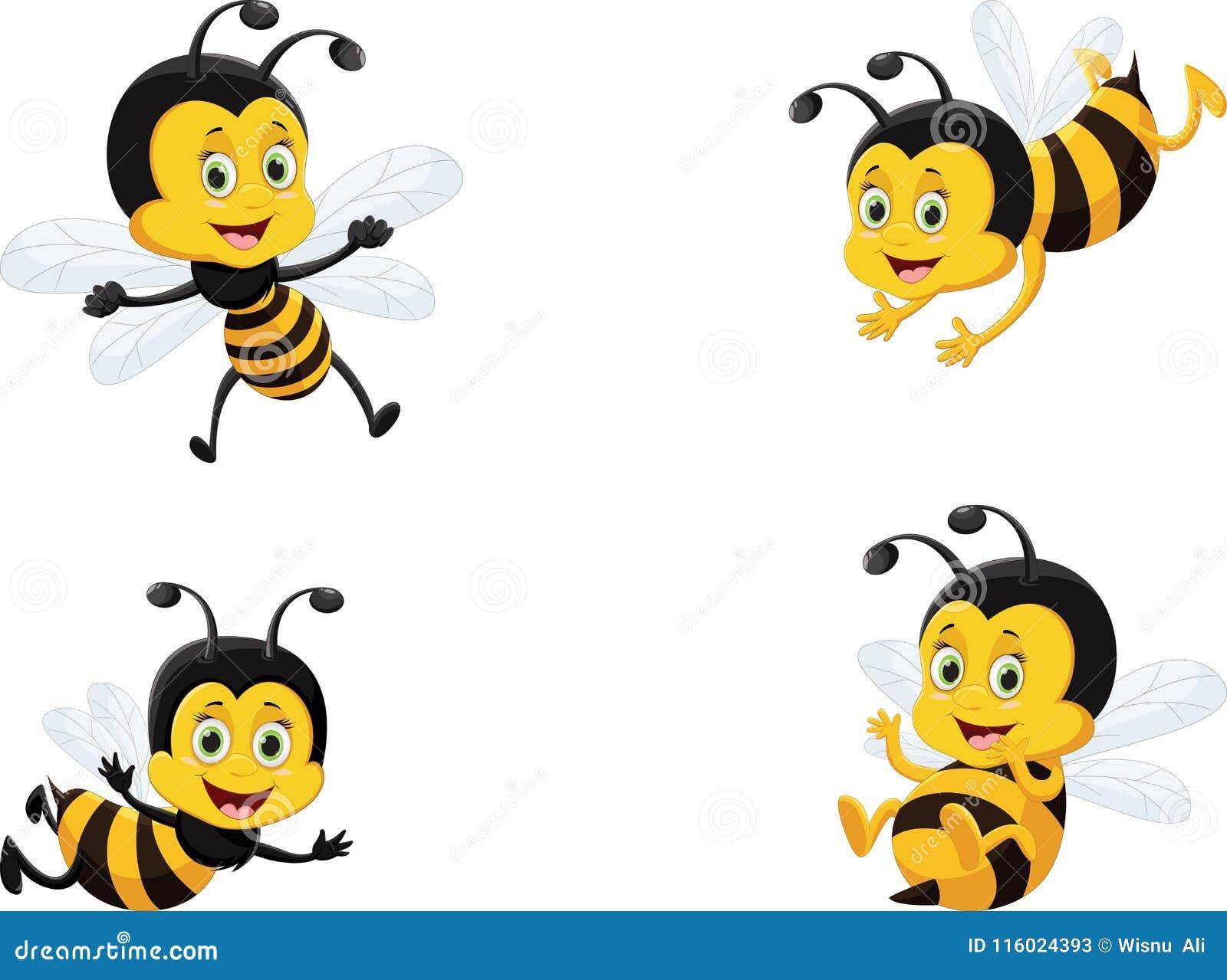 Grupo da ilustração do vetor de abelha bonito dos desenhos animados