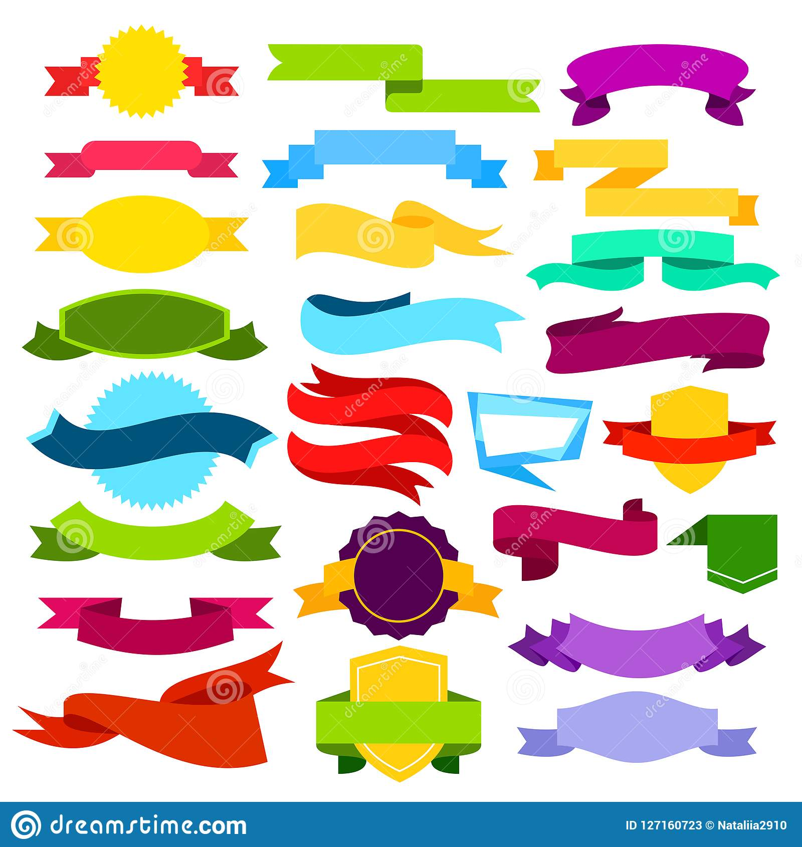 Grupo da ilustração do vetor de bandeiras coloridas da fita Rolos azuis, verdes, vermelhos, amarelos, cor-de-rosa no estilo liso