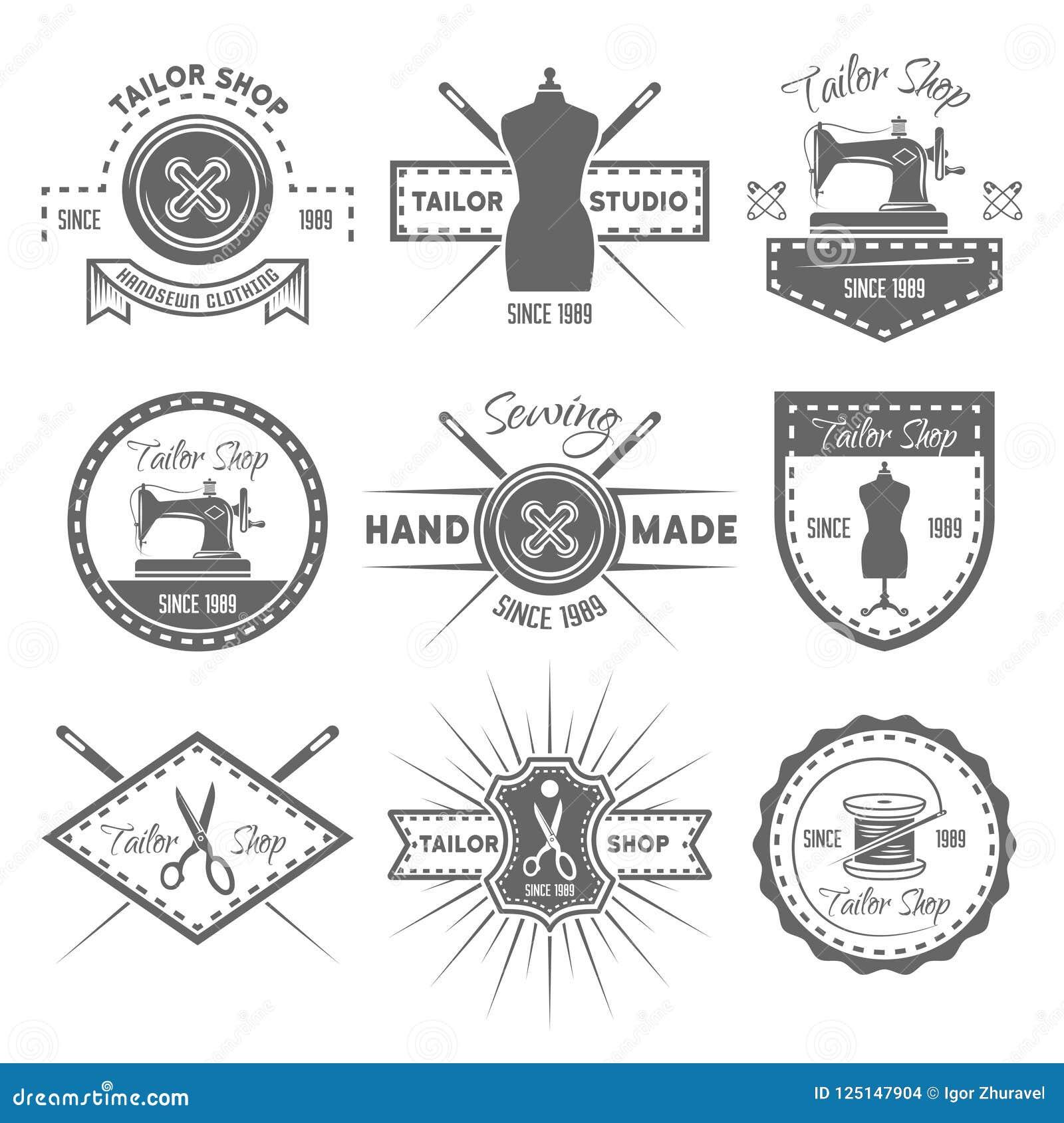 Grupo da loja do alfaiate de emblemas monocromáticos do vetor