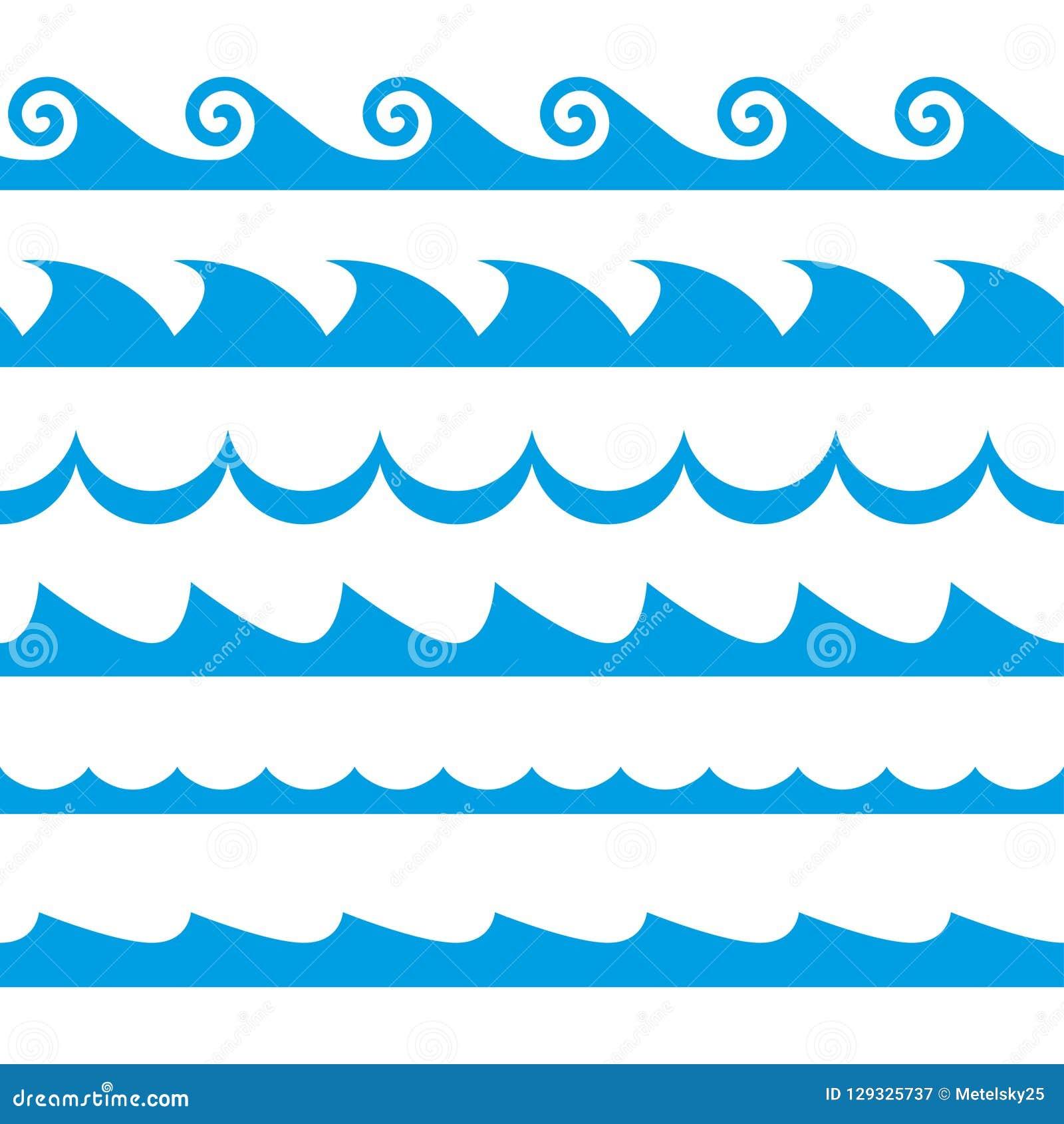 Grupo da onda Acena o teste padrão sem emenda Molde da decoração de ondas do mar e de oceano Ilustração do vetor