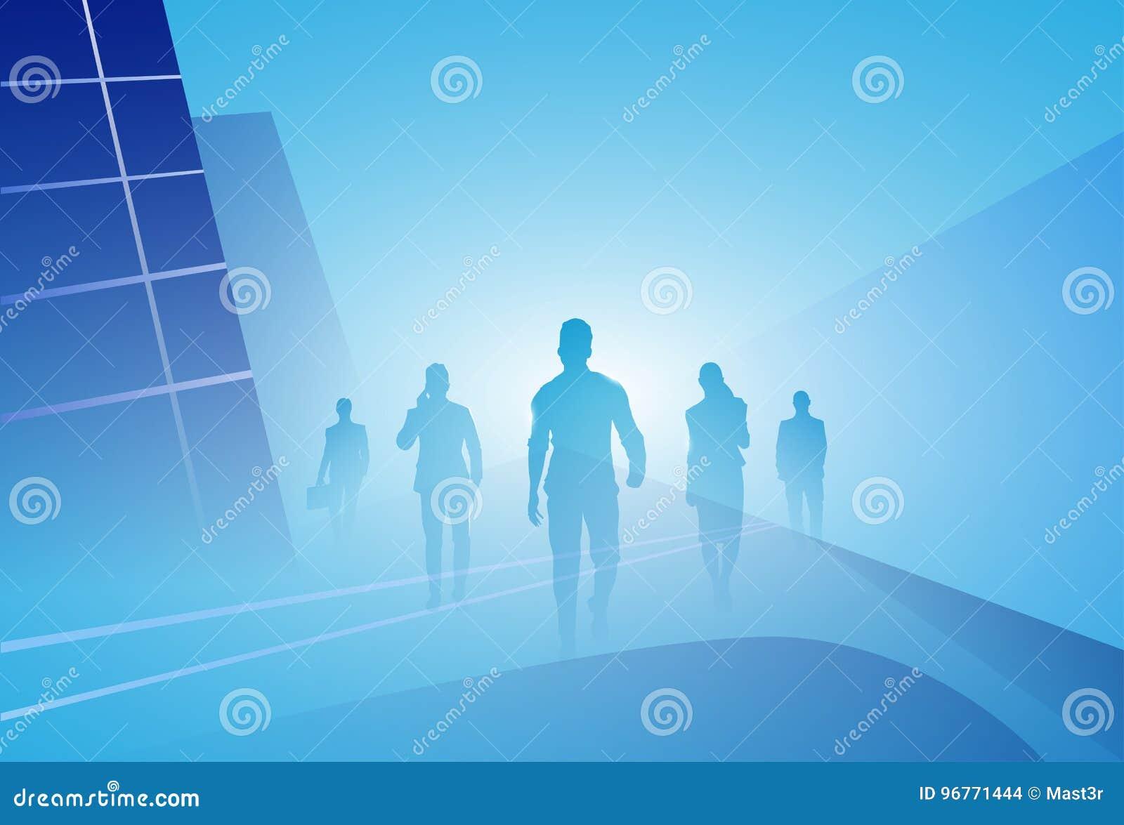 Grupo da silhueta dos empresários de executivos da etapa da caminhada para a frente sobre o fundo abstrato