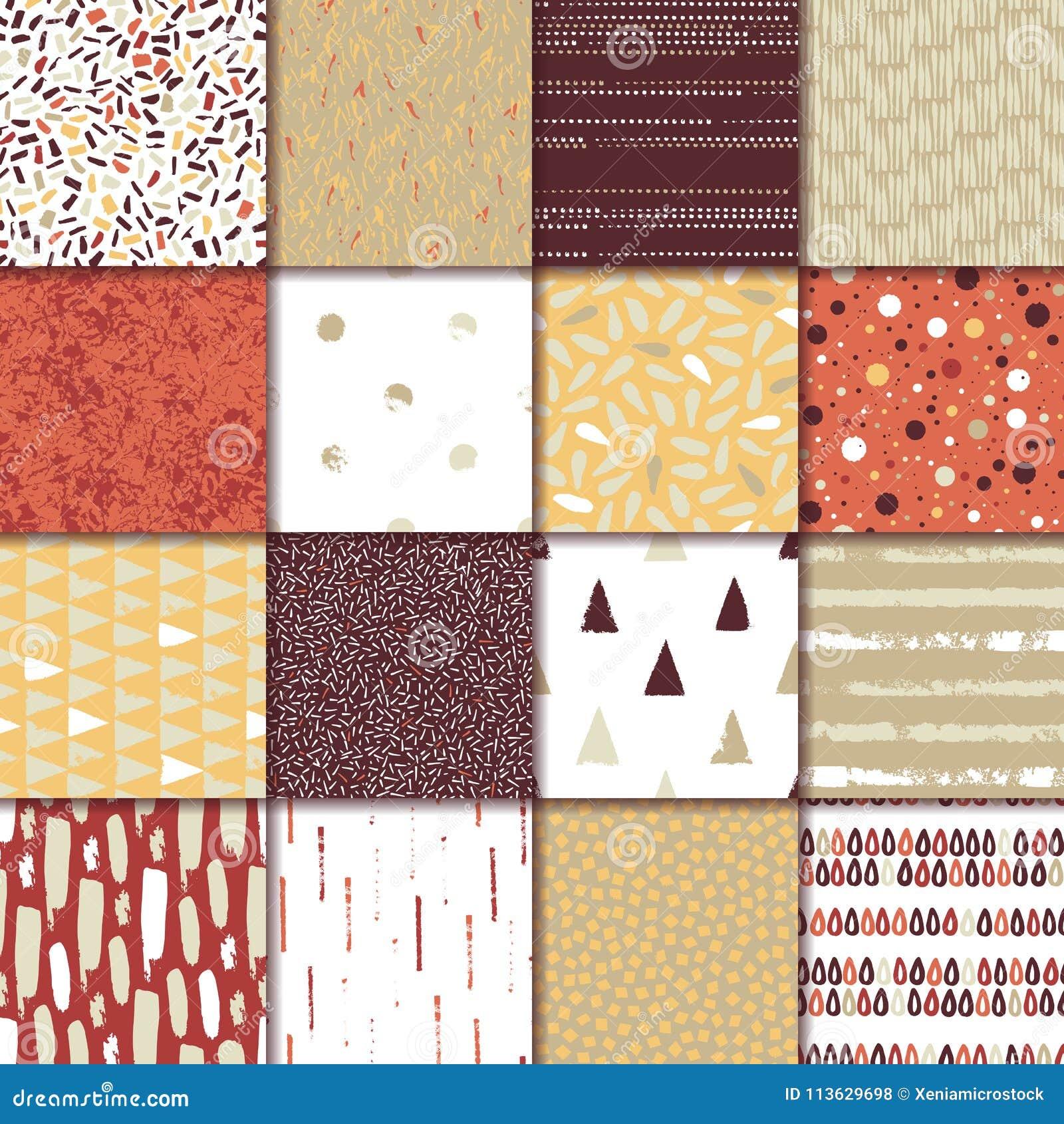 Grupo da textura 16 sem emenda Gotas, pontos, linhas, listras, círculos, triângulos, retângulos Formulários abstratos tirados uma