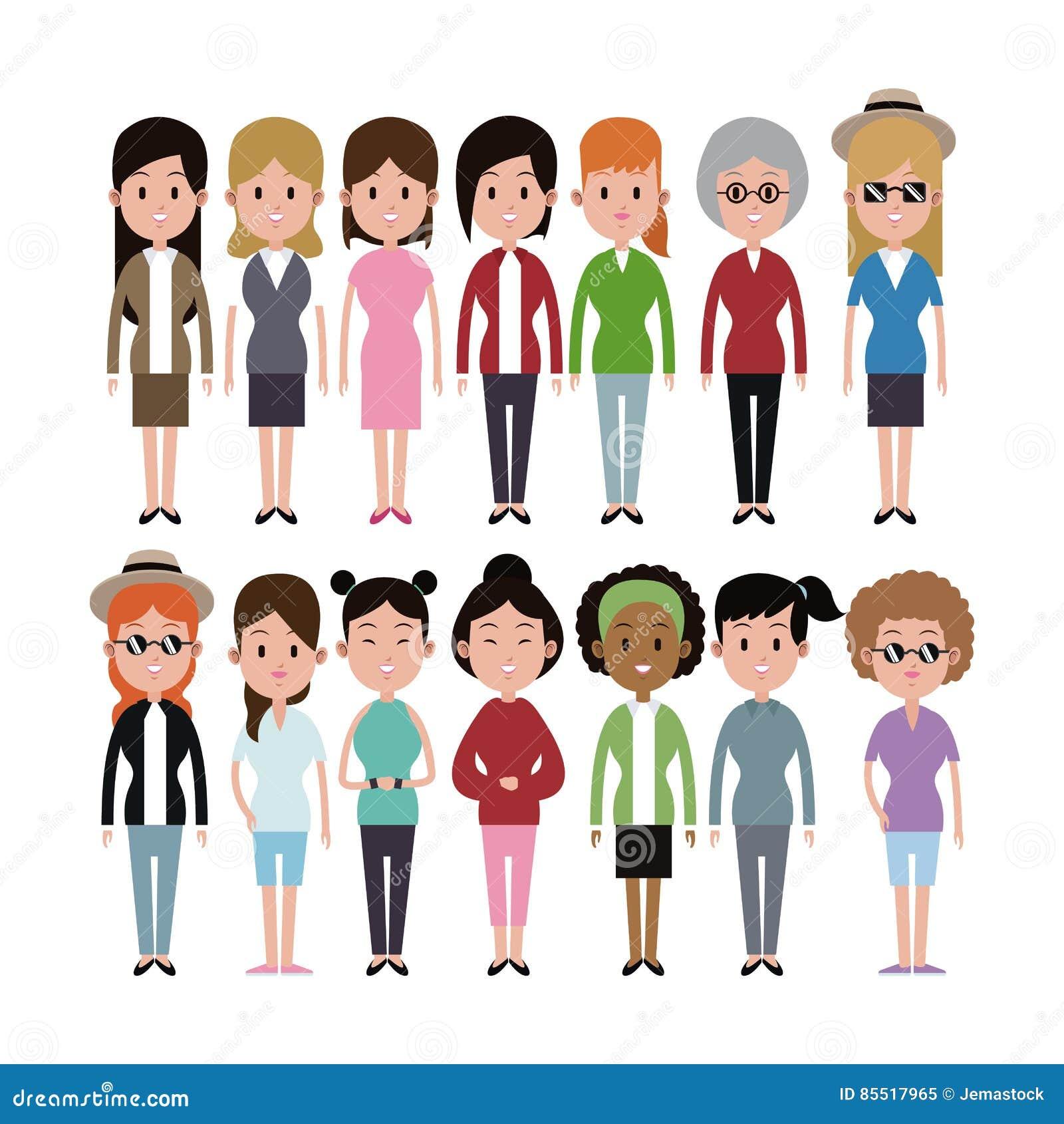 Grupo da variedade da afiliação étnica das mulheres do grupo