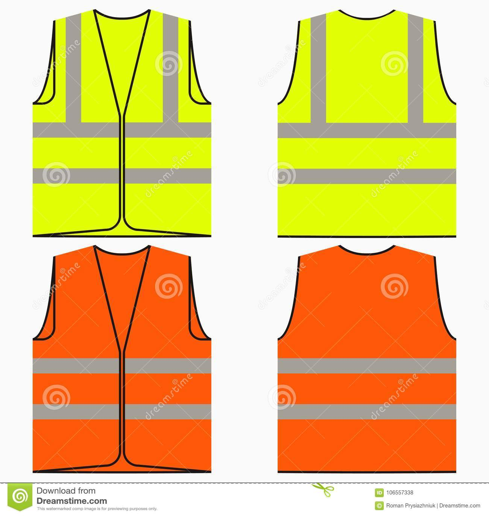 Grupo da veste da segurança de uniforme amarelo e alaranjado do trabalho com listras reflexivas Vetor