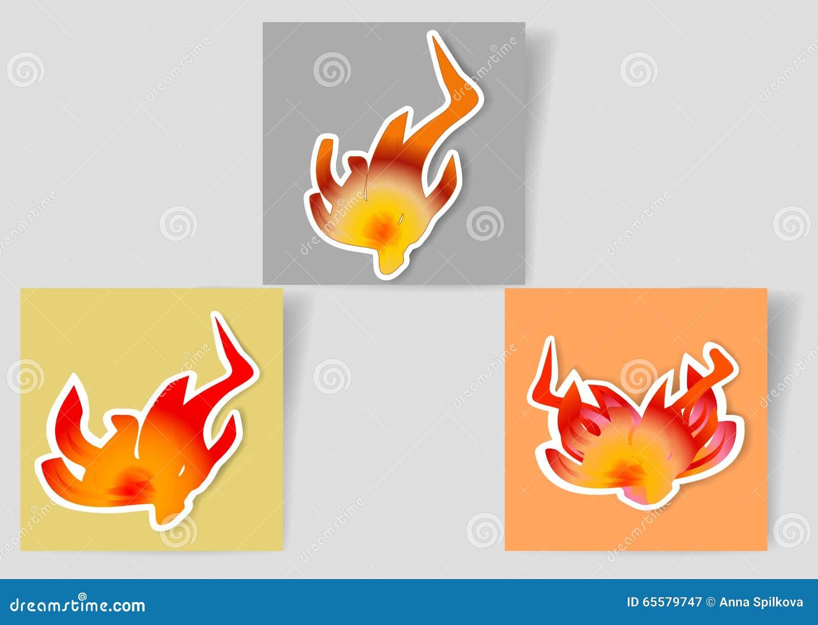 Grupo das bandeiras de papel com ícones das chamas para o webdesign e infographic