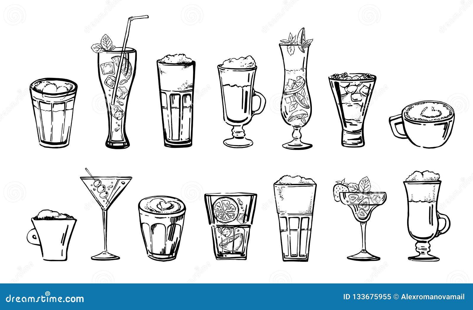Grupo das bebidas do café e do cocktail Esboço tirado mão do vetor dos desenhos animados do esboço