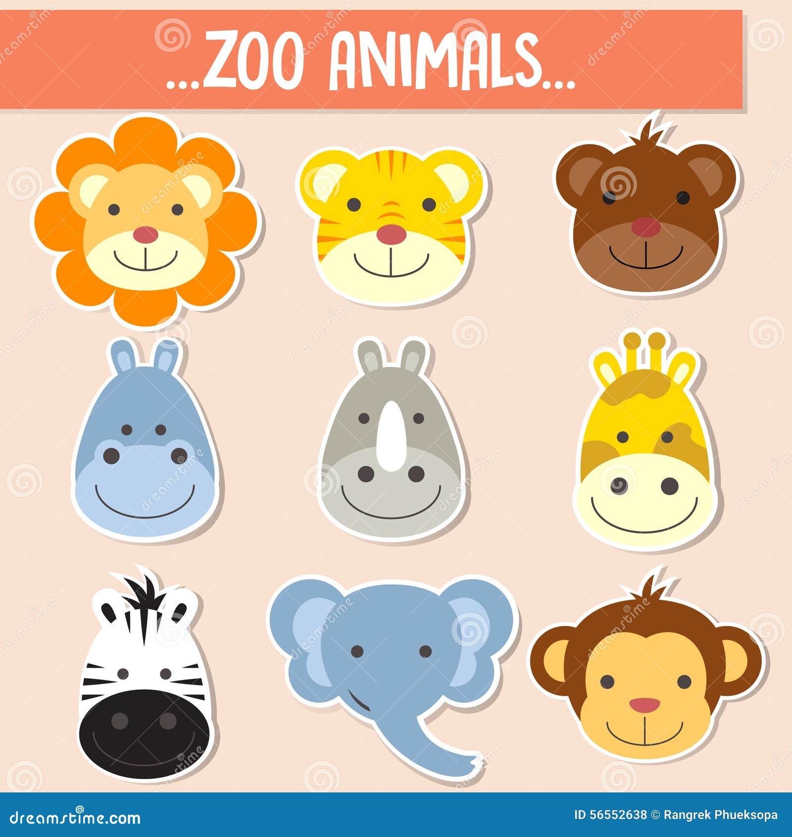 Safari Run Plano >> Grupo Das Caras Animais Ilustração do Vetor - Imagem: 56552638