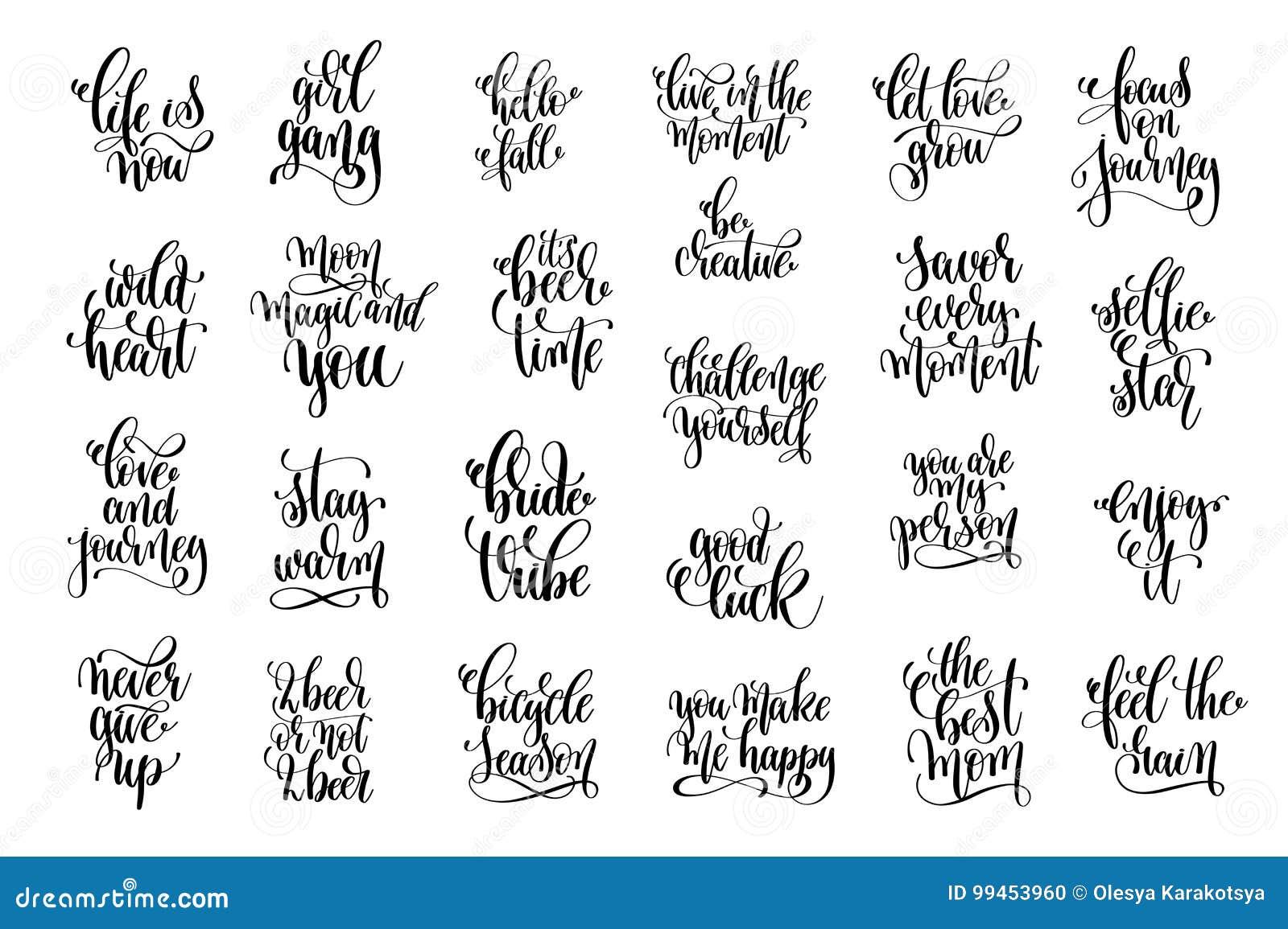 Grupo Das Citações 25 Positivas Preto E Branco Ilustração Do Vetor
