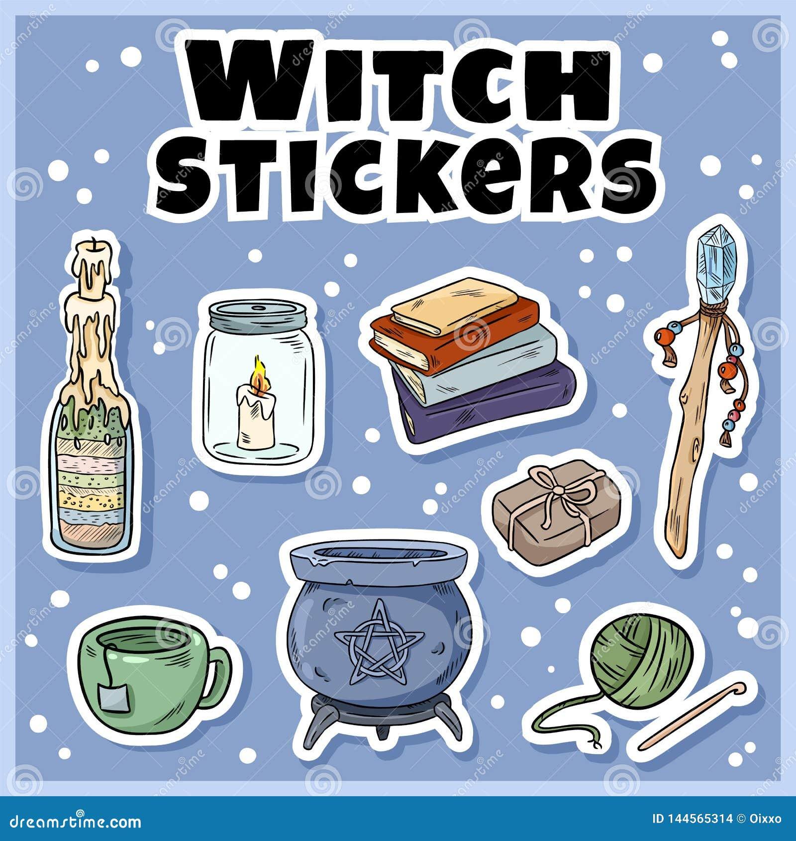 Grupo das etiquetas da bruxa Coleção de etiquetas da feitiçaria Símbolos de Wiccan: caldeirão, varinha, vela, livros