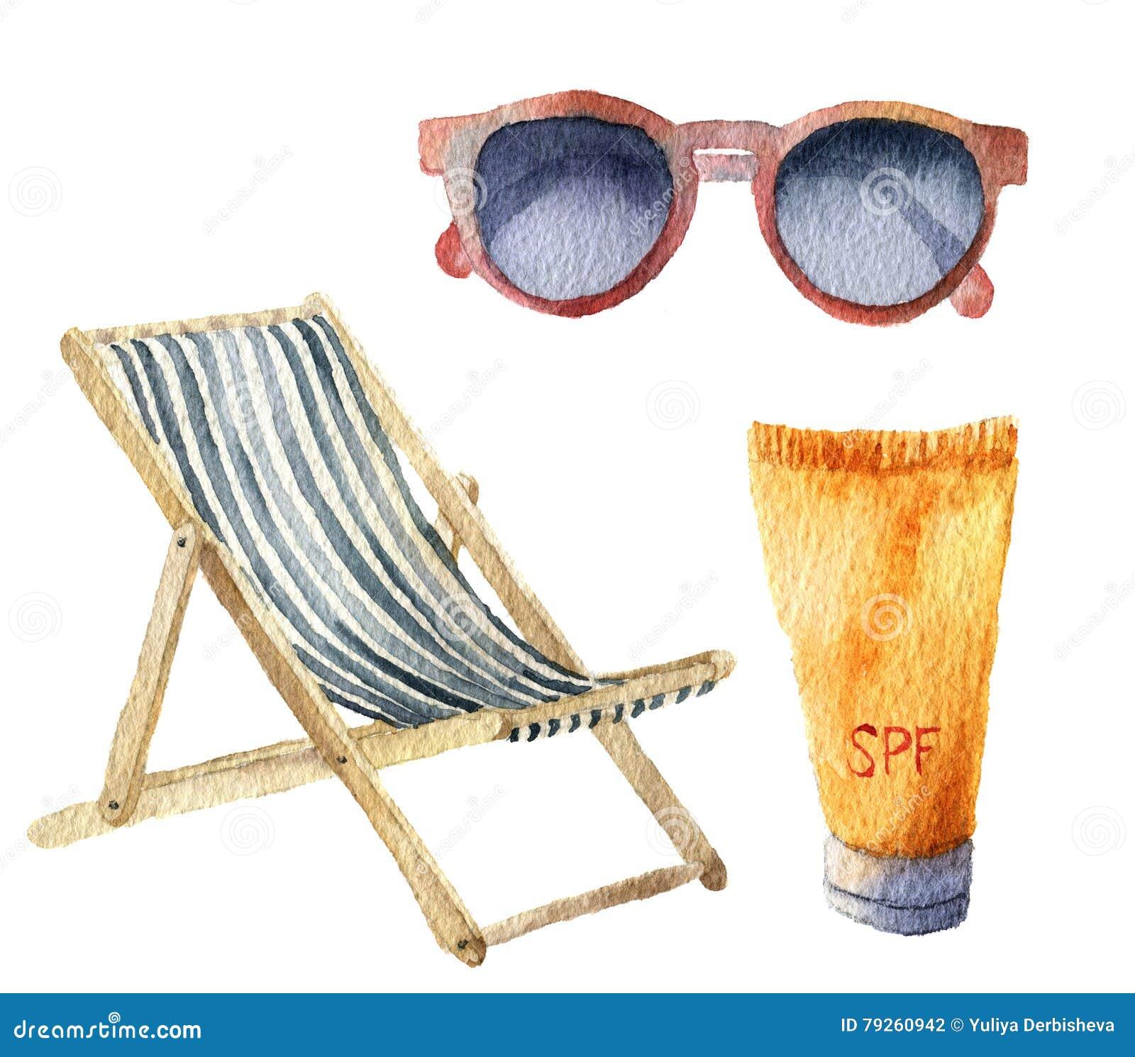 Grupo das férias do bronzeado da praia da aquarela Objetos tirados mão do verão: óculos de sol, cadeira de praia e sunblock ou cr
