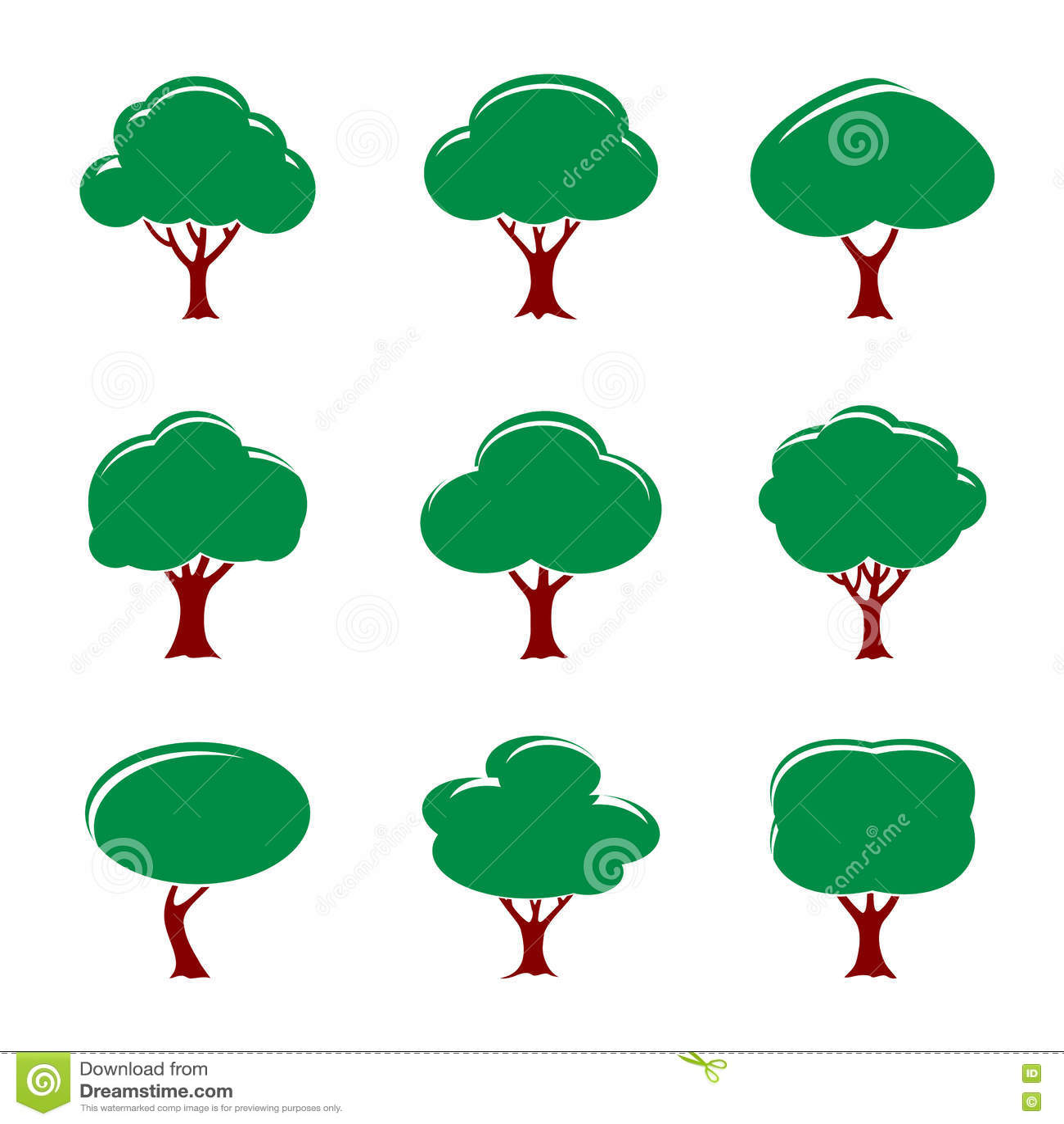 Grupo de árvores da cor Ilustração do vetor