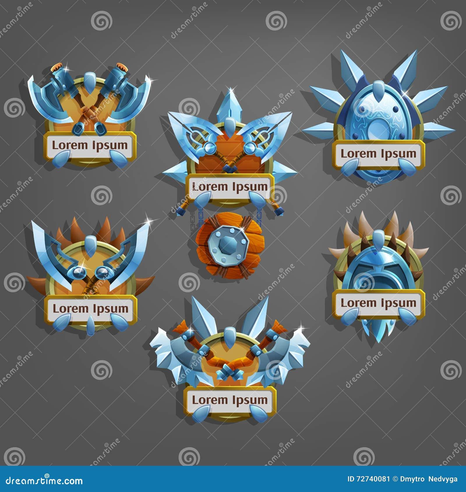 Grupo de ícone das brasões para a relação do jogo