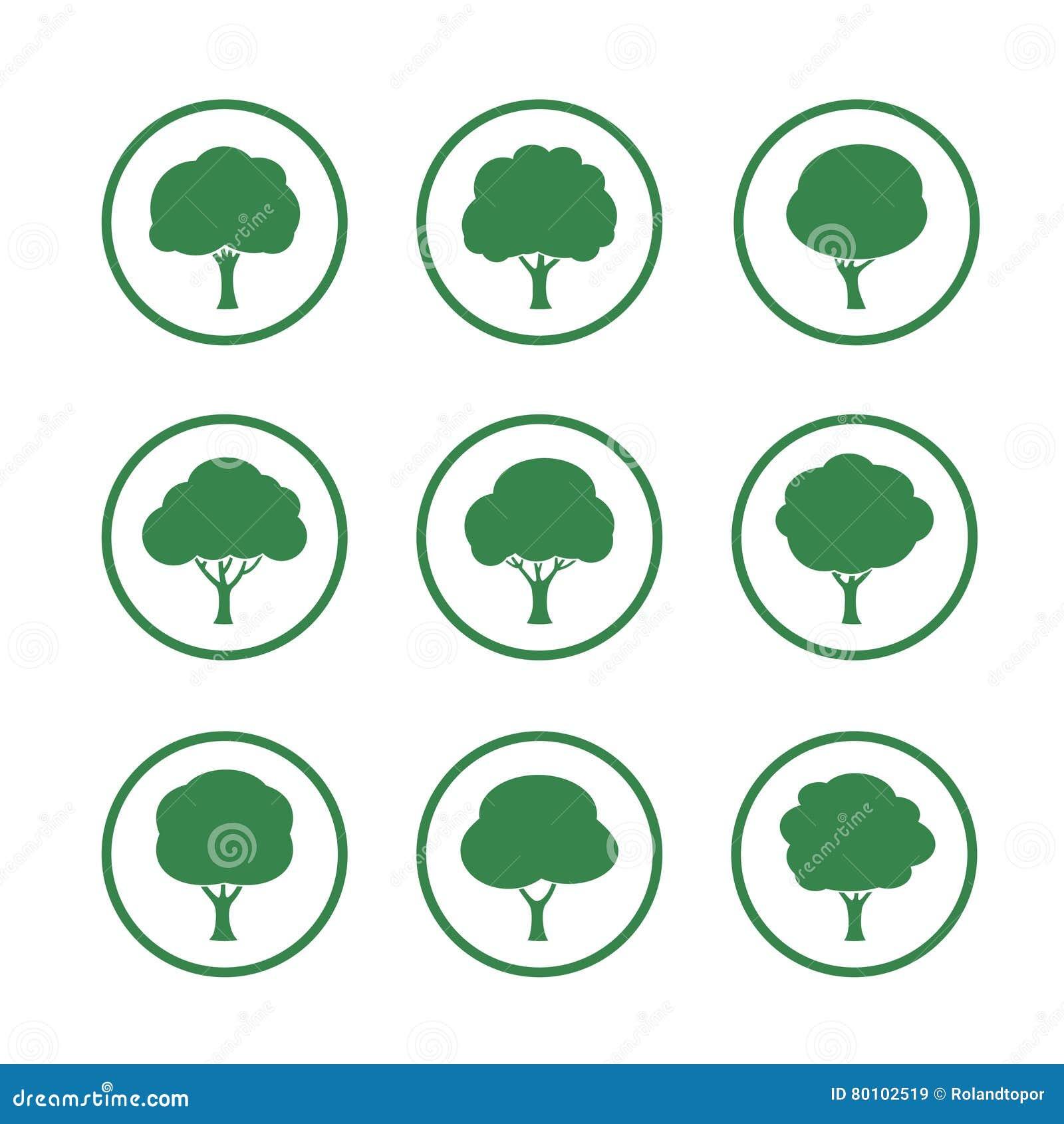 Grupo de ícone verde da árvore Ilustração do vetor