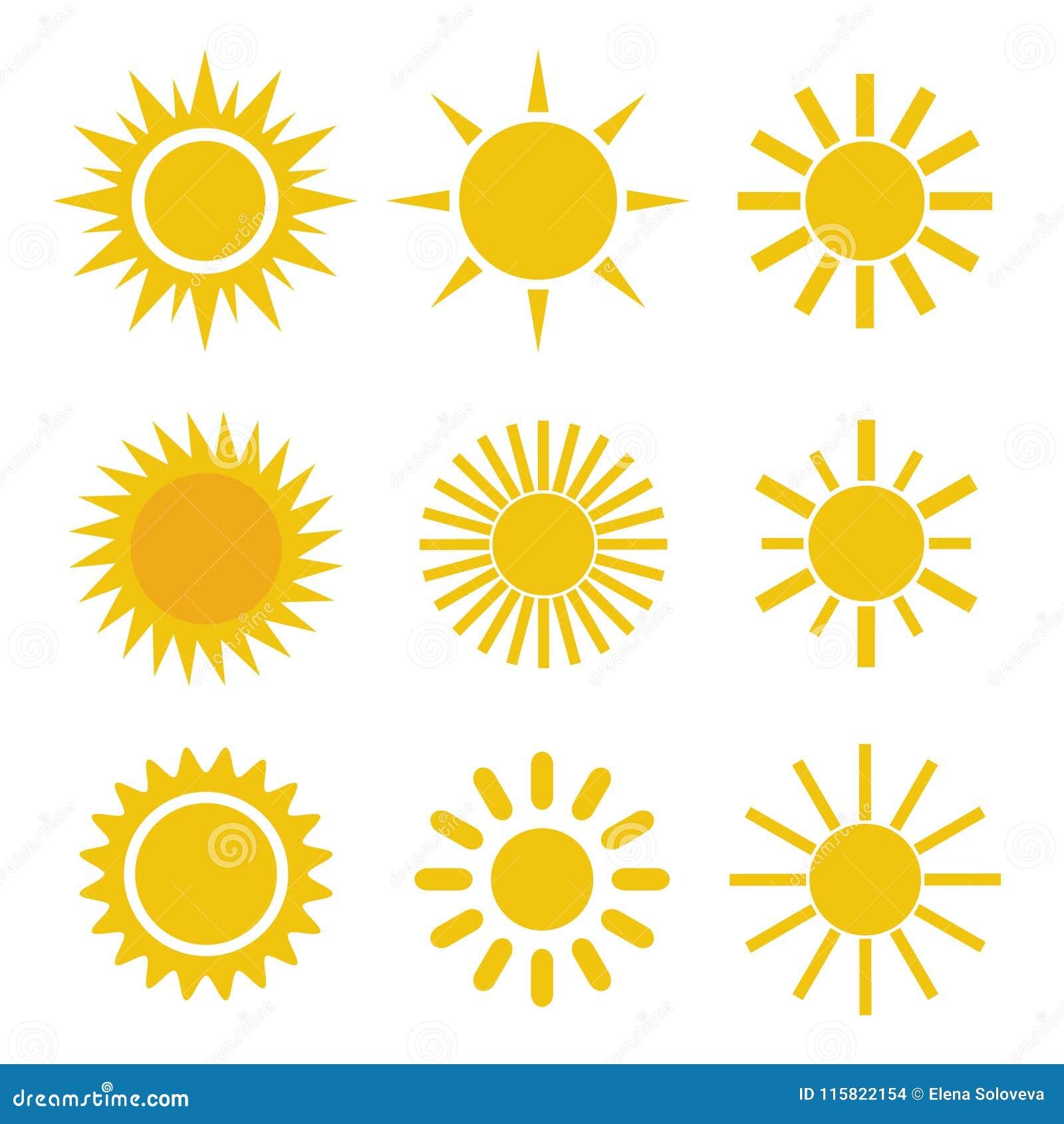 Grupo de ícones alaranjados amarelos simples diferentes de Sun nos raios pontudo e ondulados brancos do fundo -
