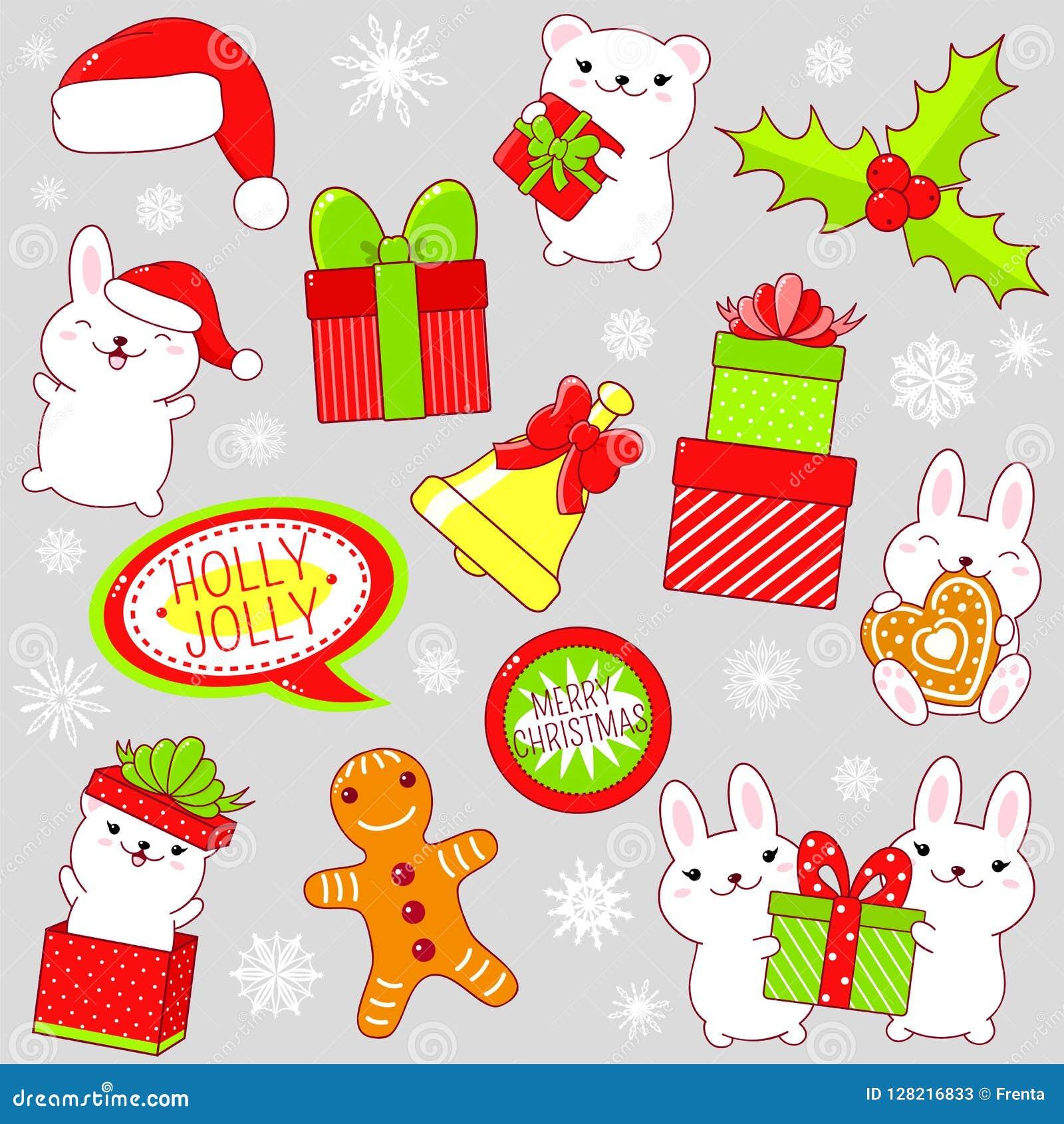 Grupo De ícones Bonitos Da Festa De Natal No Estilo Do