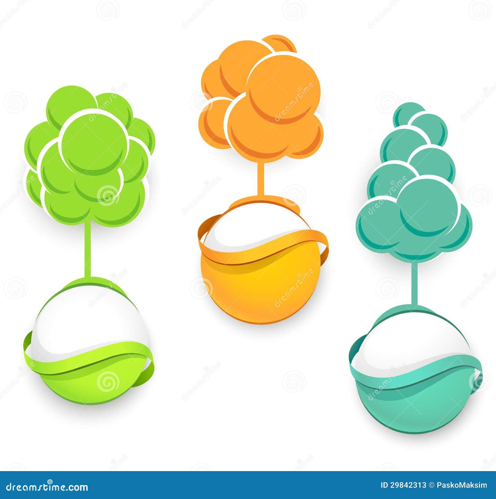Grupo de ícones das árvores