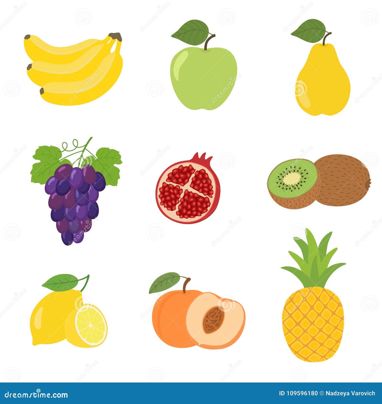 Grupo de ícones coloridos maçã do fruto dos desenhos animados, pera, pêssego, banana, uvas, quivi, limão, romã, abacaxi