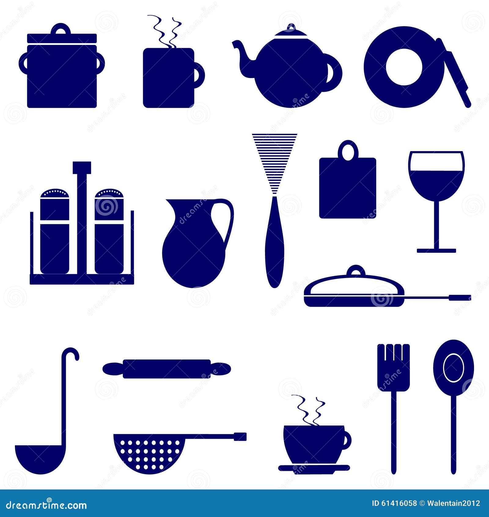 Grupo De Cones Com Elementos De Utens Lios Da Cozinha Cor Azul  ~ Desenho Utensílios De Cozinha