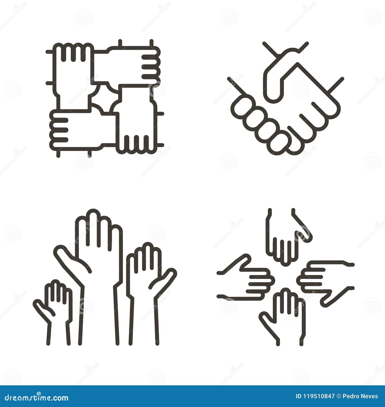 Grupo de ícones da mão que representam a parceria, a comunidade, a caridade, os trabalhos de equipa, o negócio, a amizade e a cel