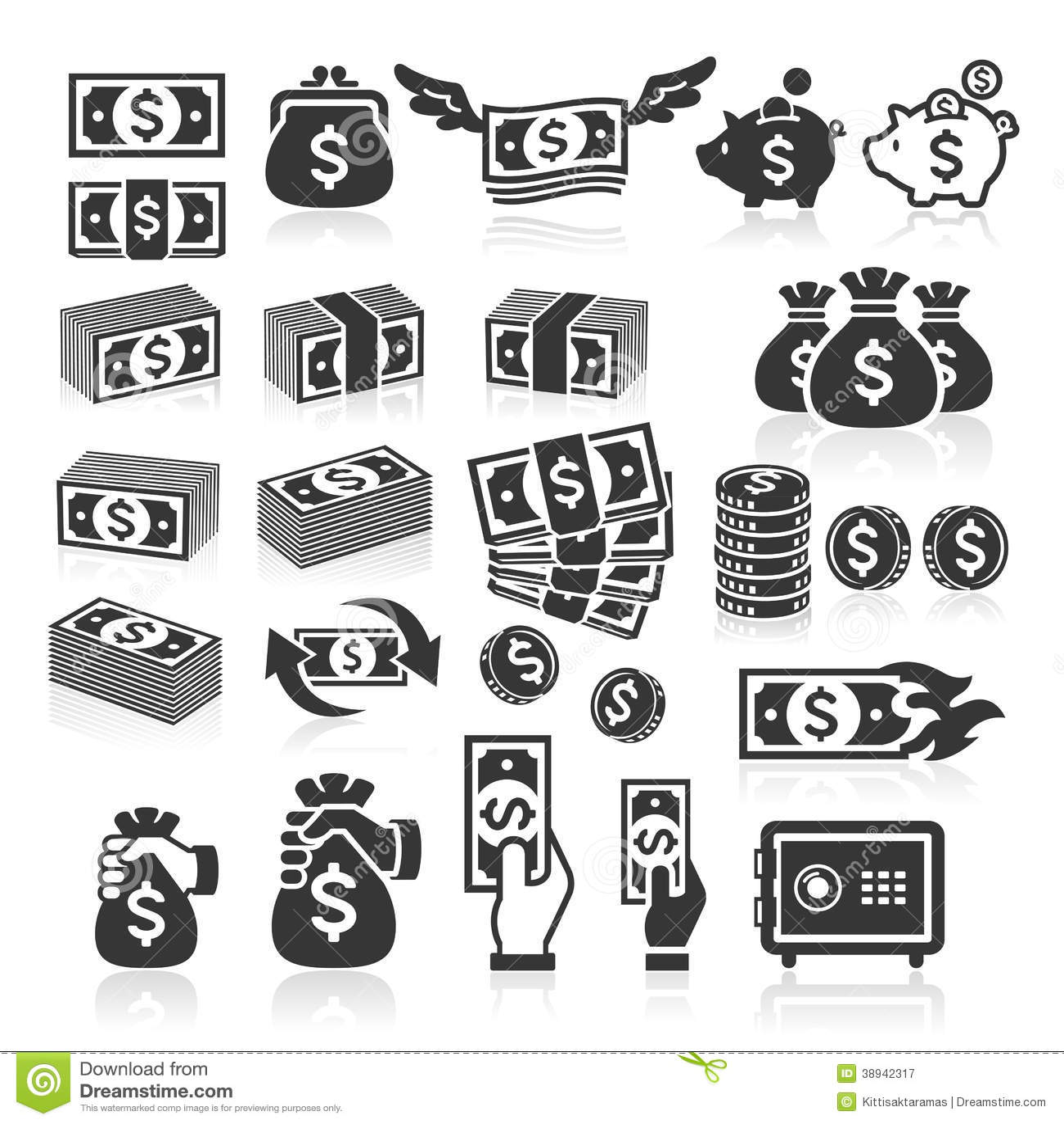 Grupo de ícones do dinheiro.