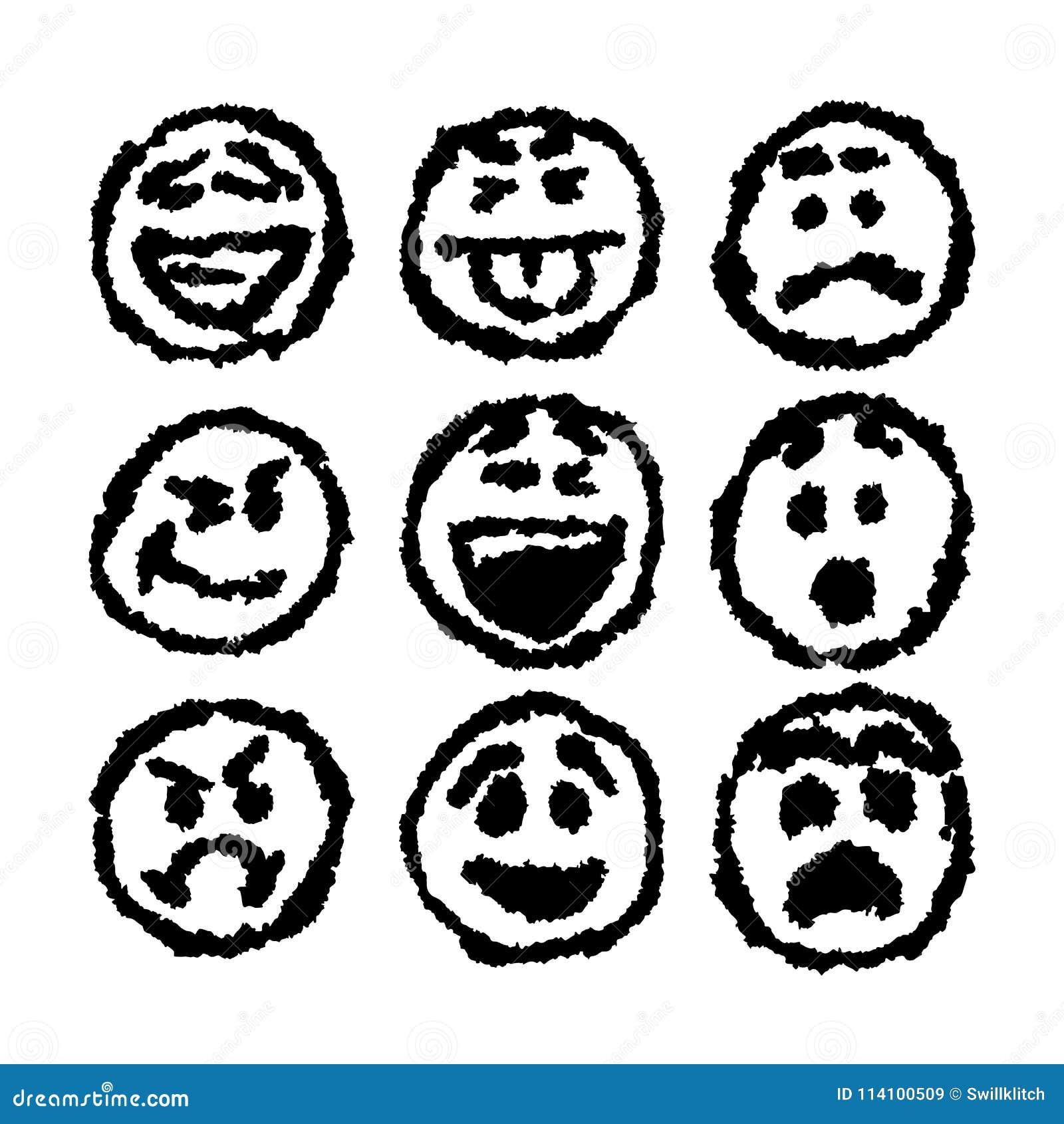 Grupo De Icones Do Emoji Ou Do Emoticon Com Estilo Sujo Do Desenho