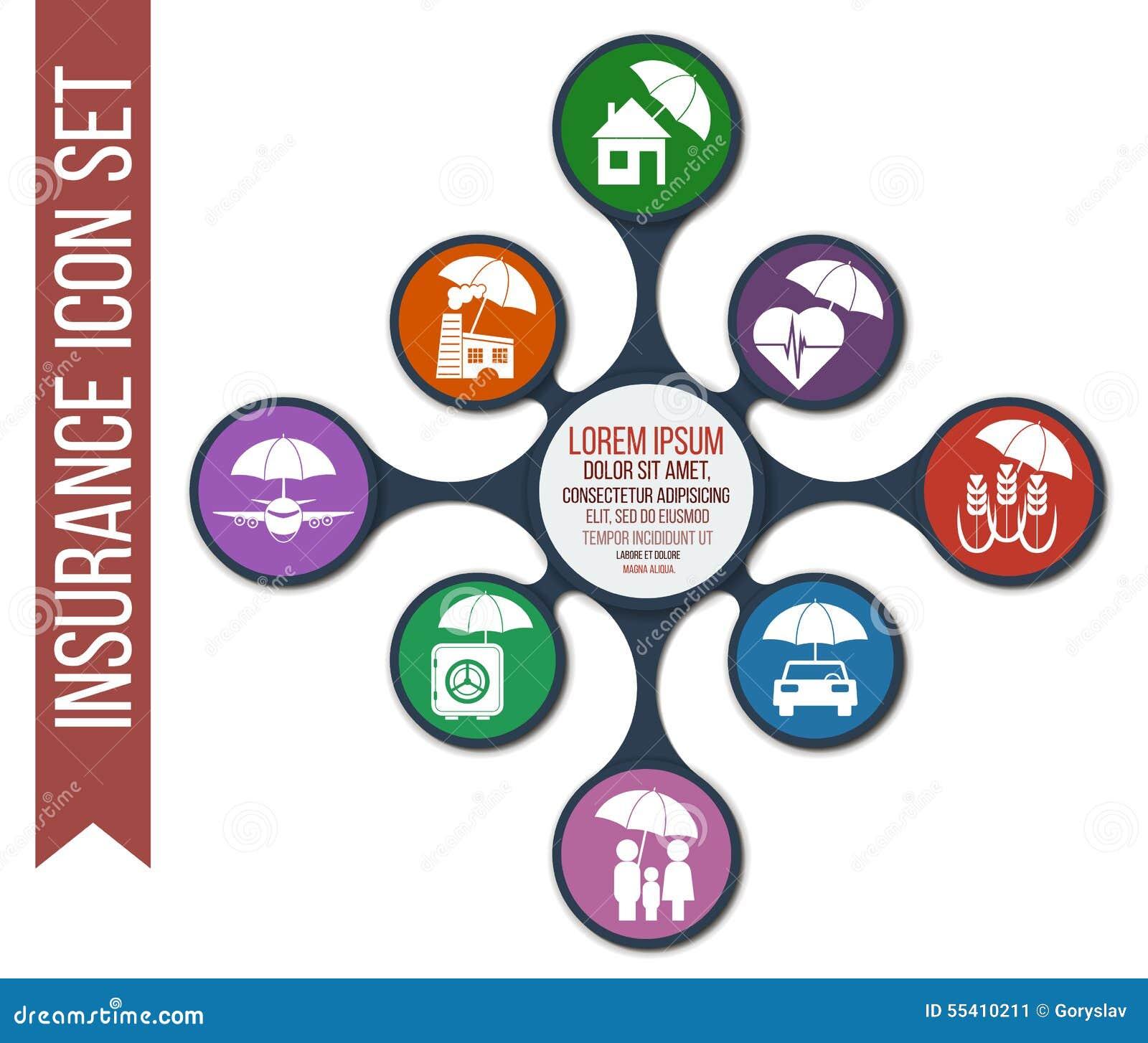 Grupo de 8 ícones do seguro do vetor