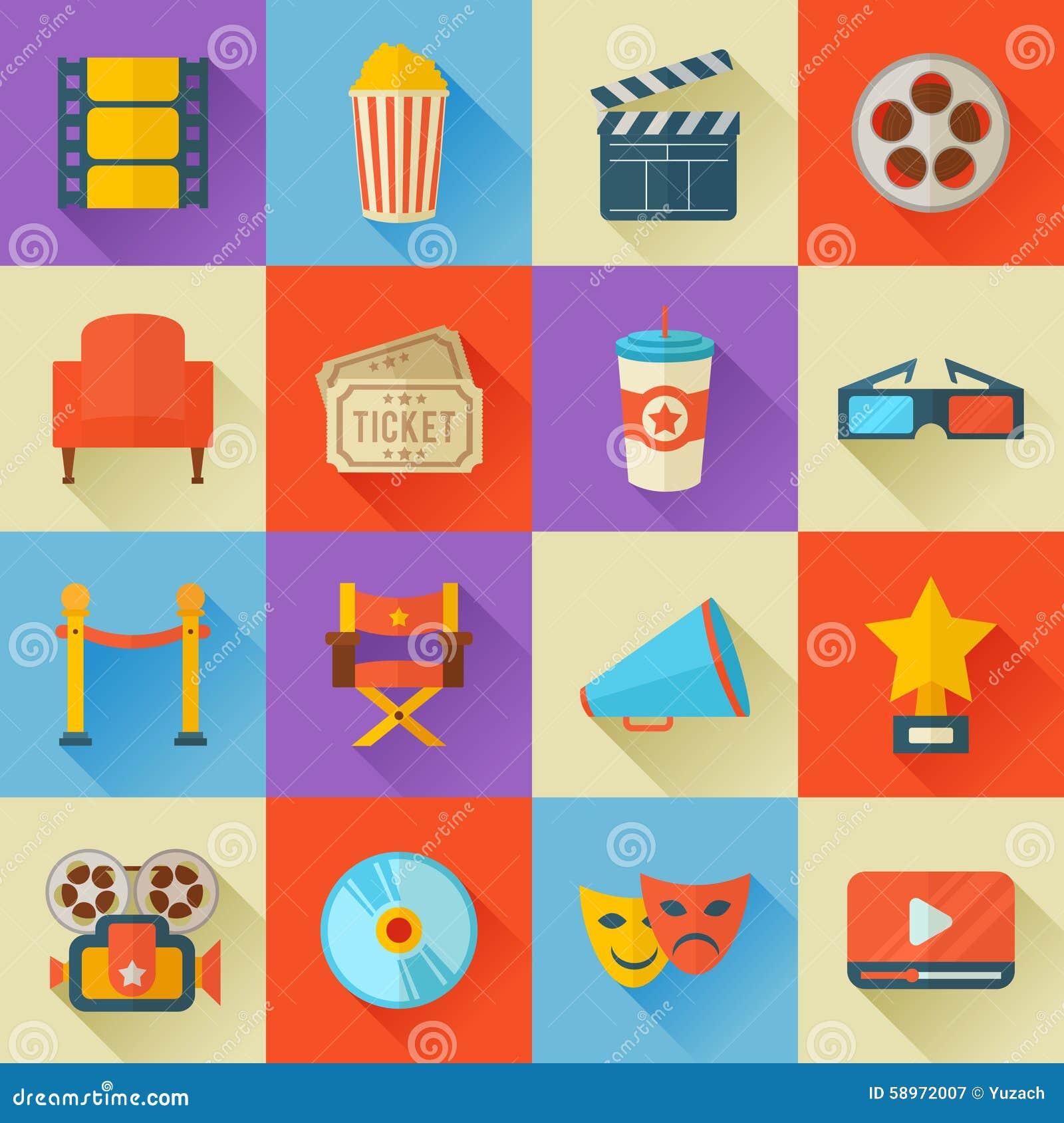 Grupo de ícones lisos do cinema do estilo