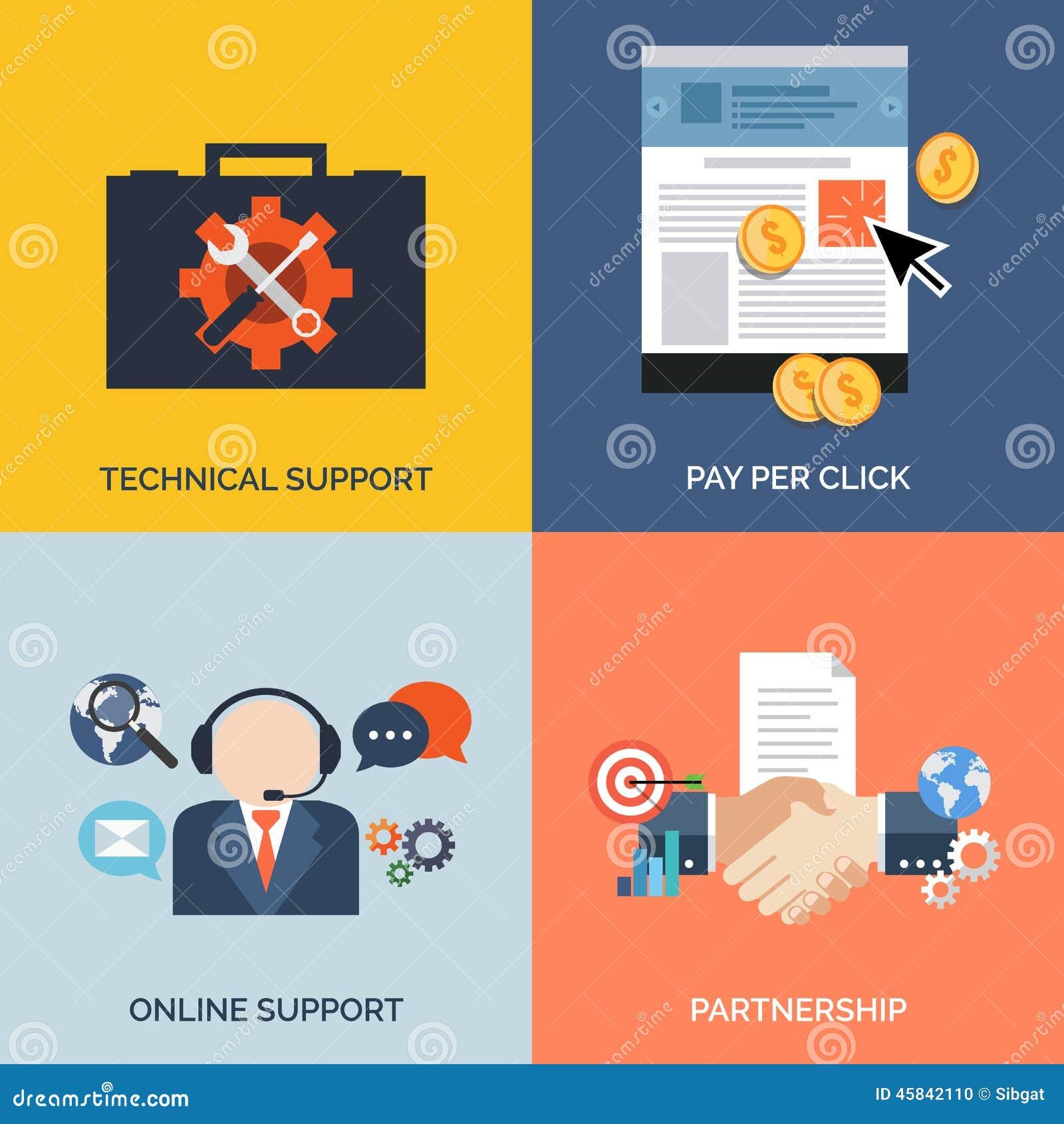 Grupo de ícones lisos do conceito de projeto para o negócio