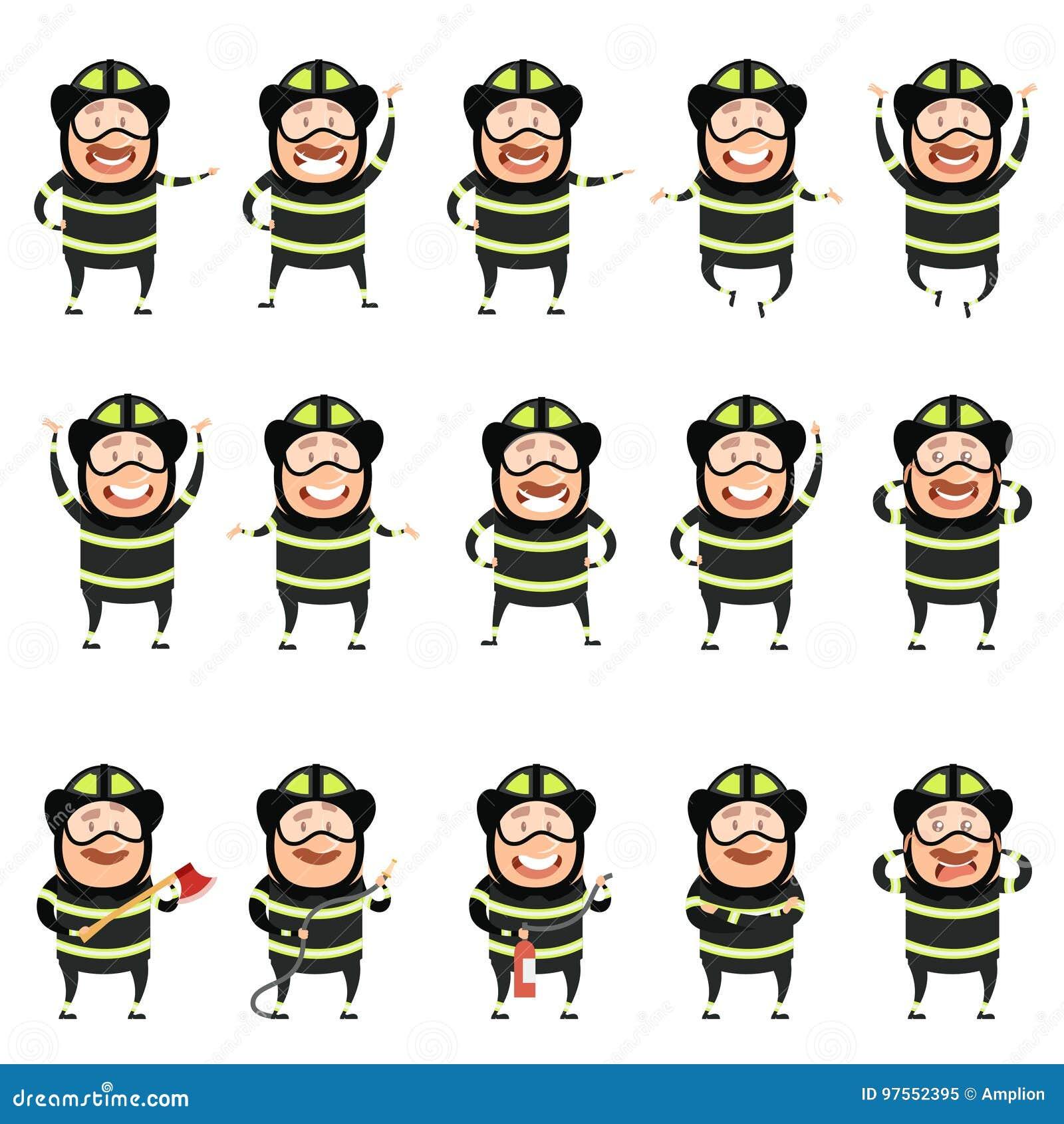 Grupo de ícones lisos do personagem de banda desenhada dos bombeiros