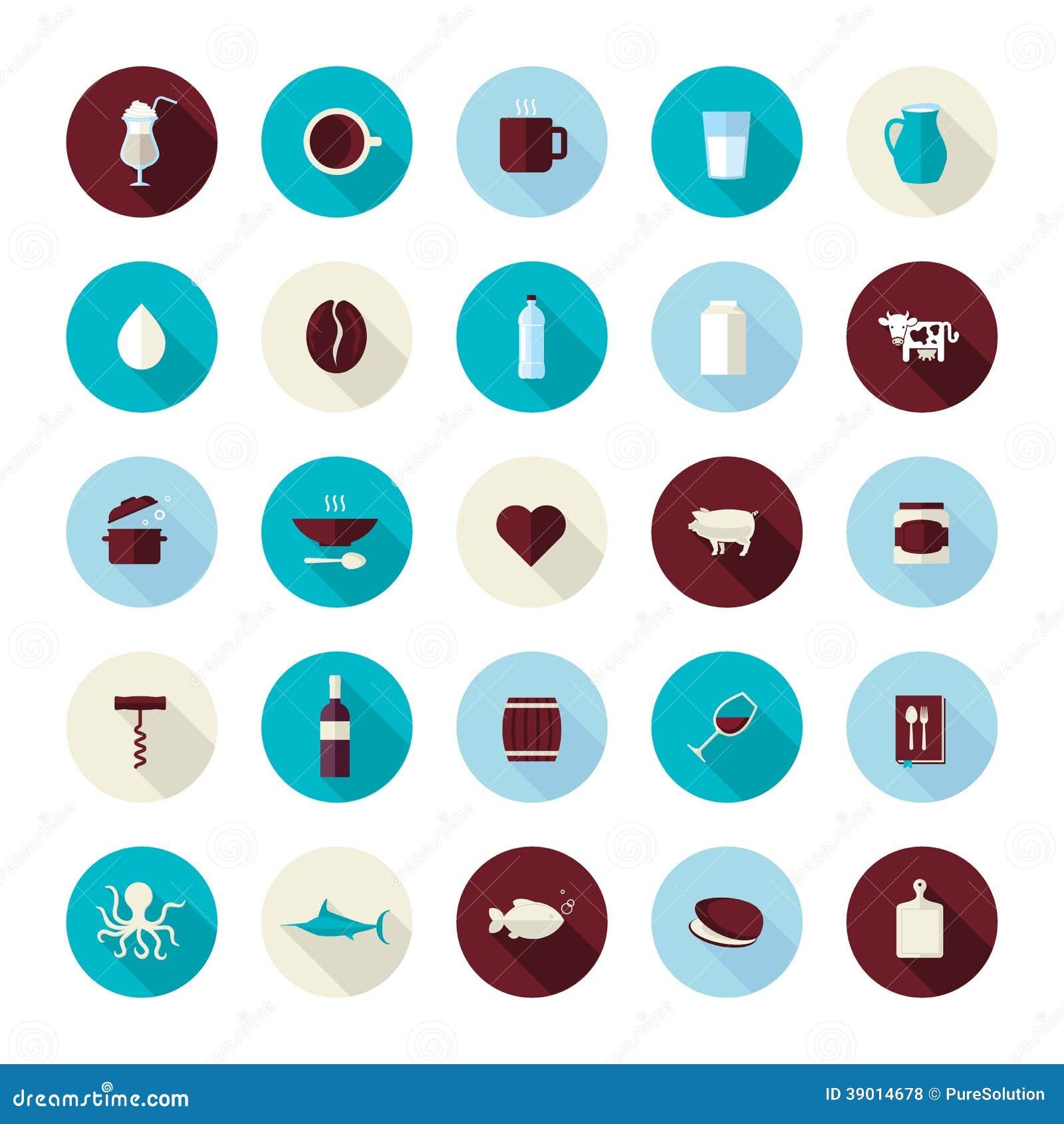 Grupo de ícones lisos modernos do projeto para o alimento e a bebida