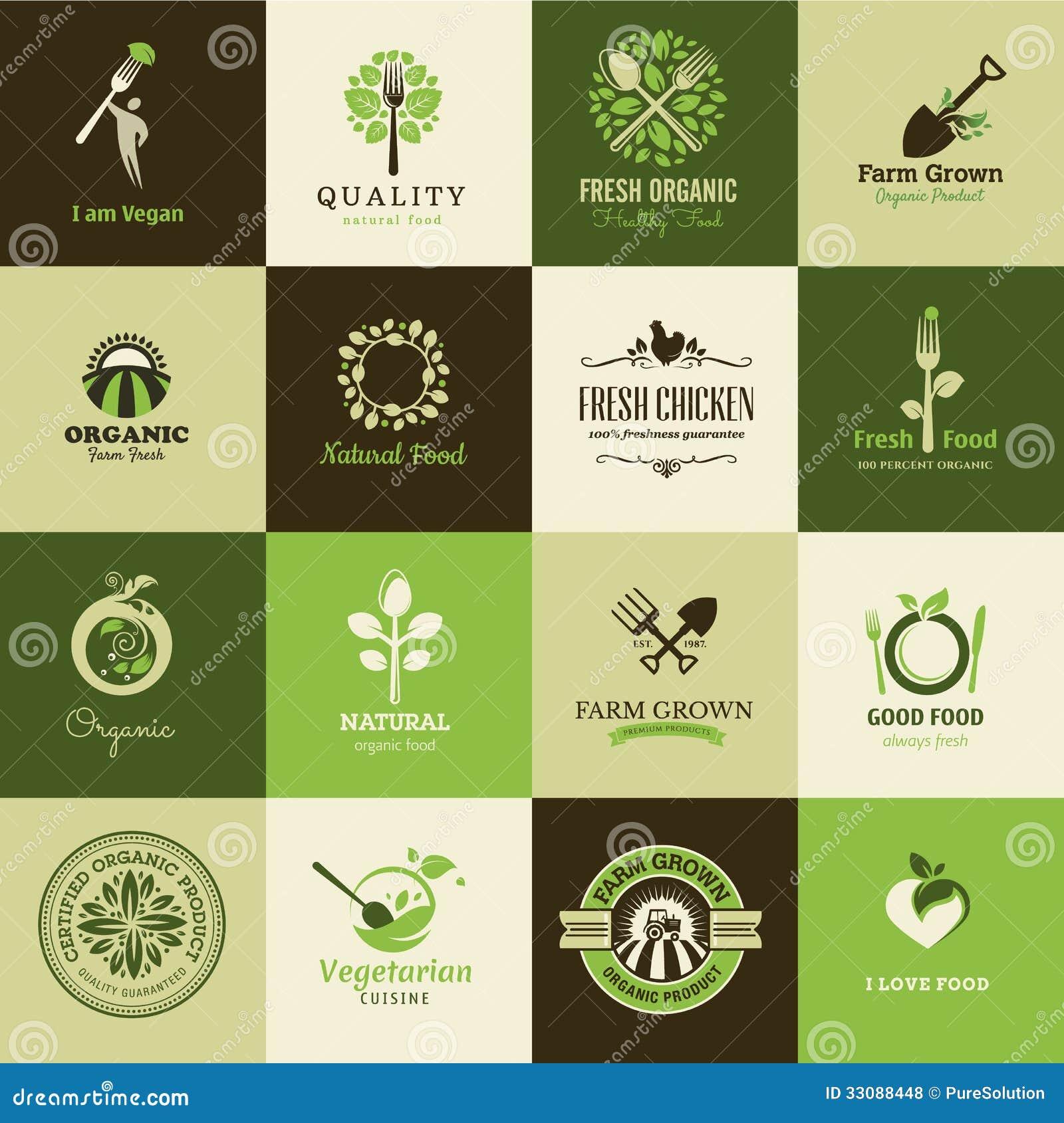 Grupo de ícones para o alimento biológico e os restaurantes