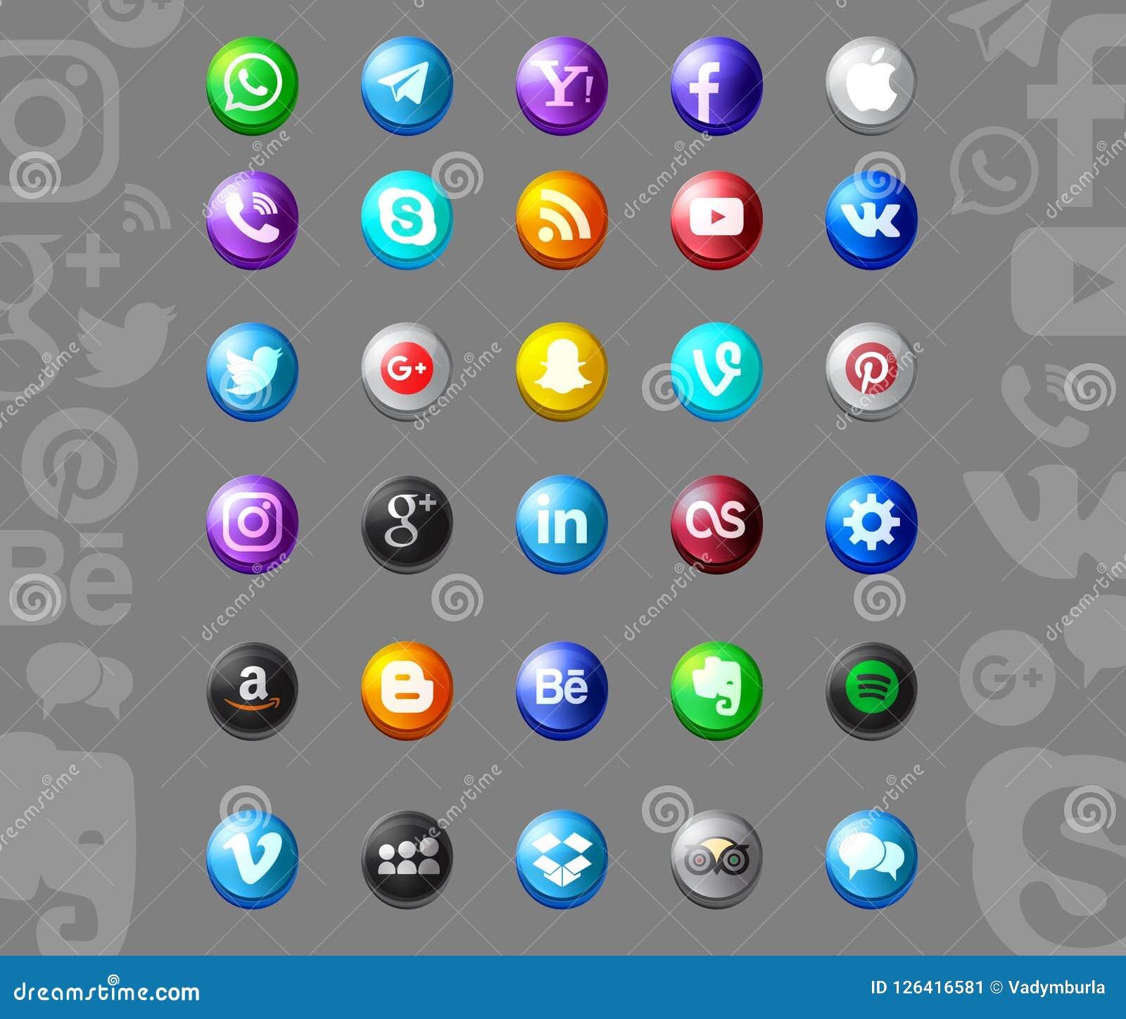 Grupo de ícones sociais populares dos meios