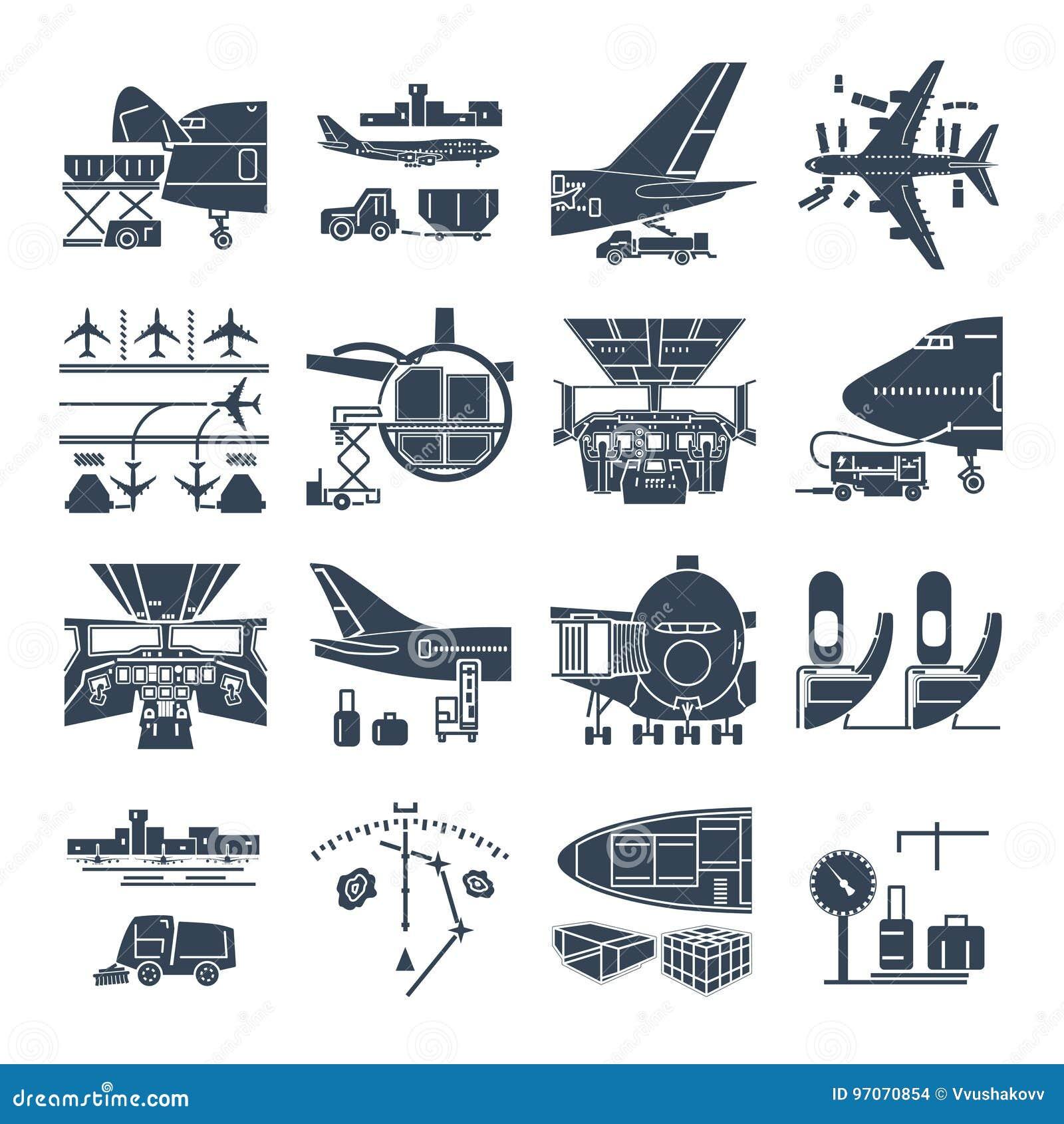 Grupo de aeroporto dos ícones e de avião pretos, frete