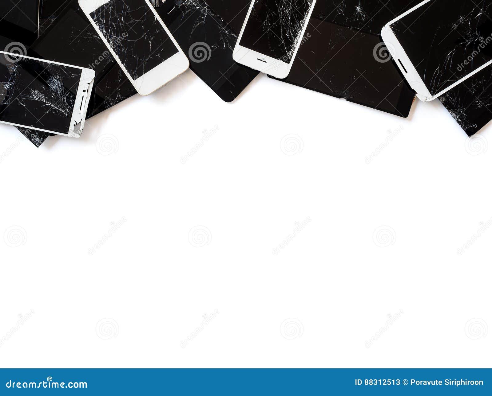 Grupo de aislante quebrado de la e-basura de la pantalla del smartphone