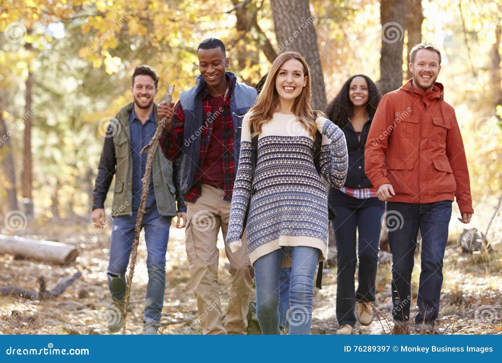 Grupo de amigos felices que caminan junto a través de un bosque