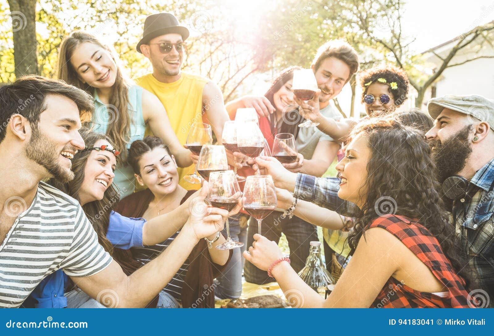 Grupo de amigos que brindam o vinho que tem o divertimento no partido de jardim do assado