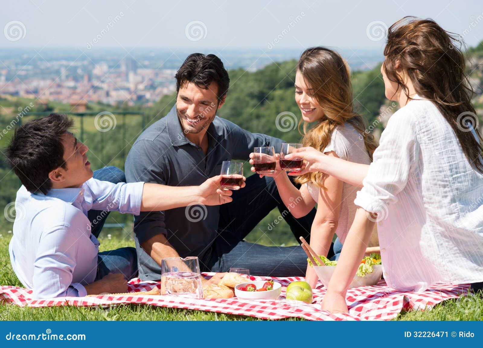 Download Grupo De Amigos Que Têm Um Piquenique Imagem de Stock - Imagem de coma, jardim: 32226471