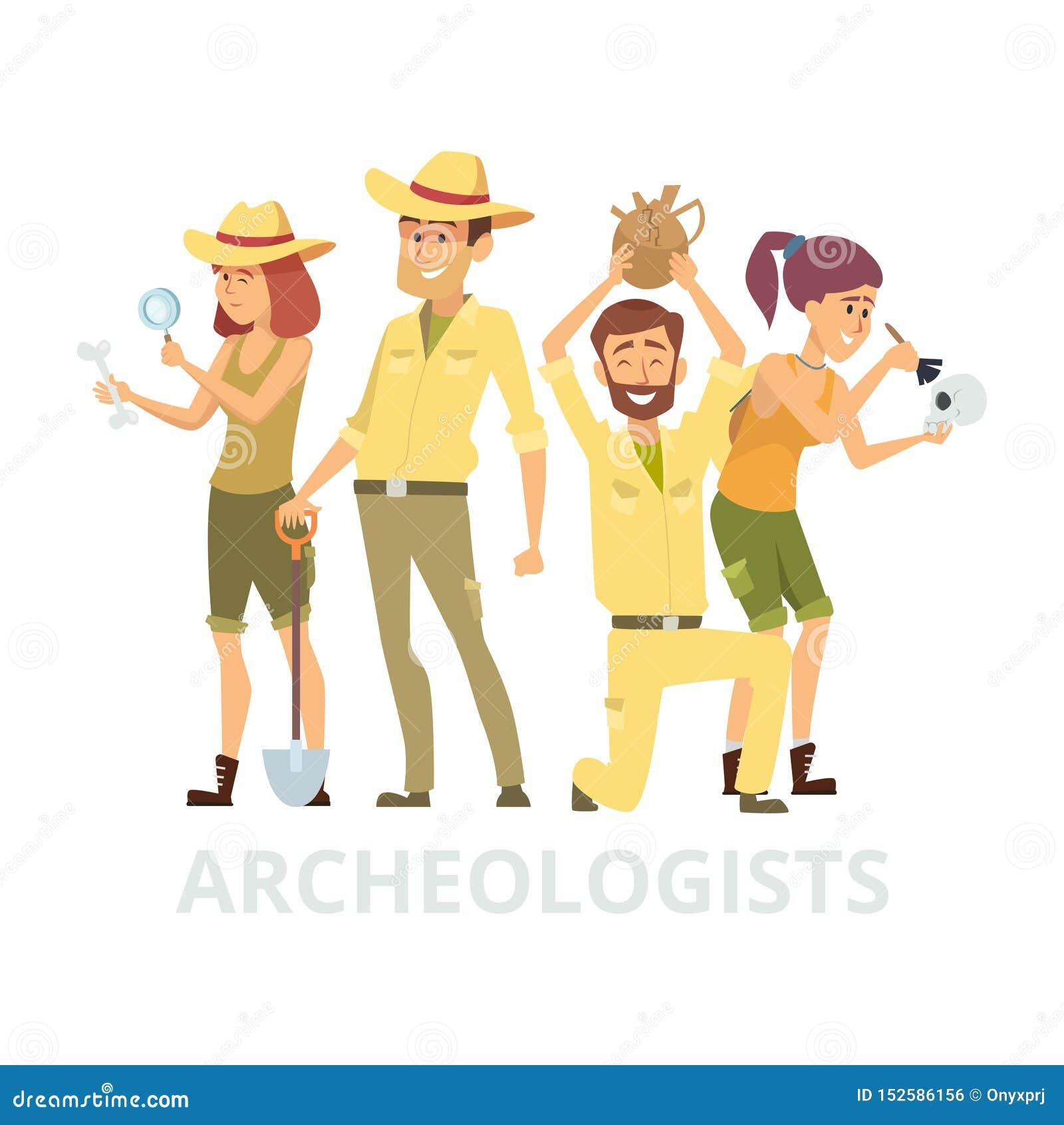Grupo de arqueólogos aislados en el fondo blanco Ejemplo de los caracteres de los arqueólogos del vector