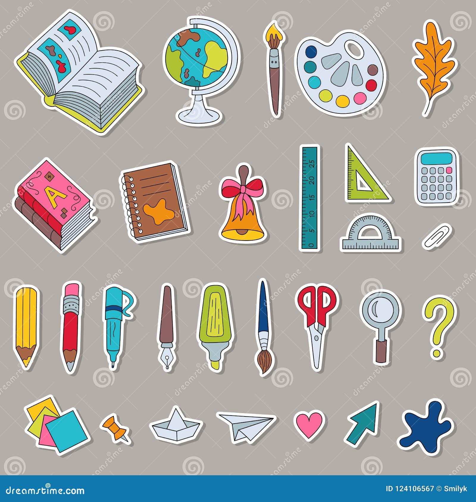 Grupo De Artigos De Papelaria Coloridos Etiquetas Da Escola Dos