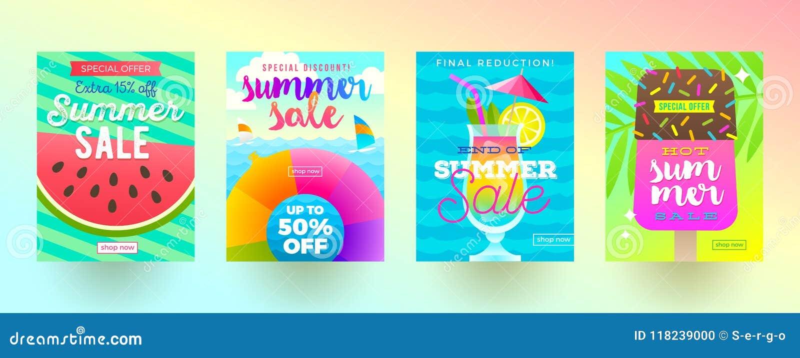 Grupo de bandeiras da promoção de venda do verão Férias, feriados e fundo brilhante colorido do curso Projeto do cartaz ou do bol