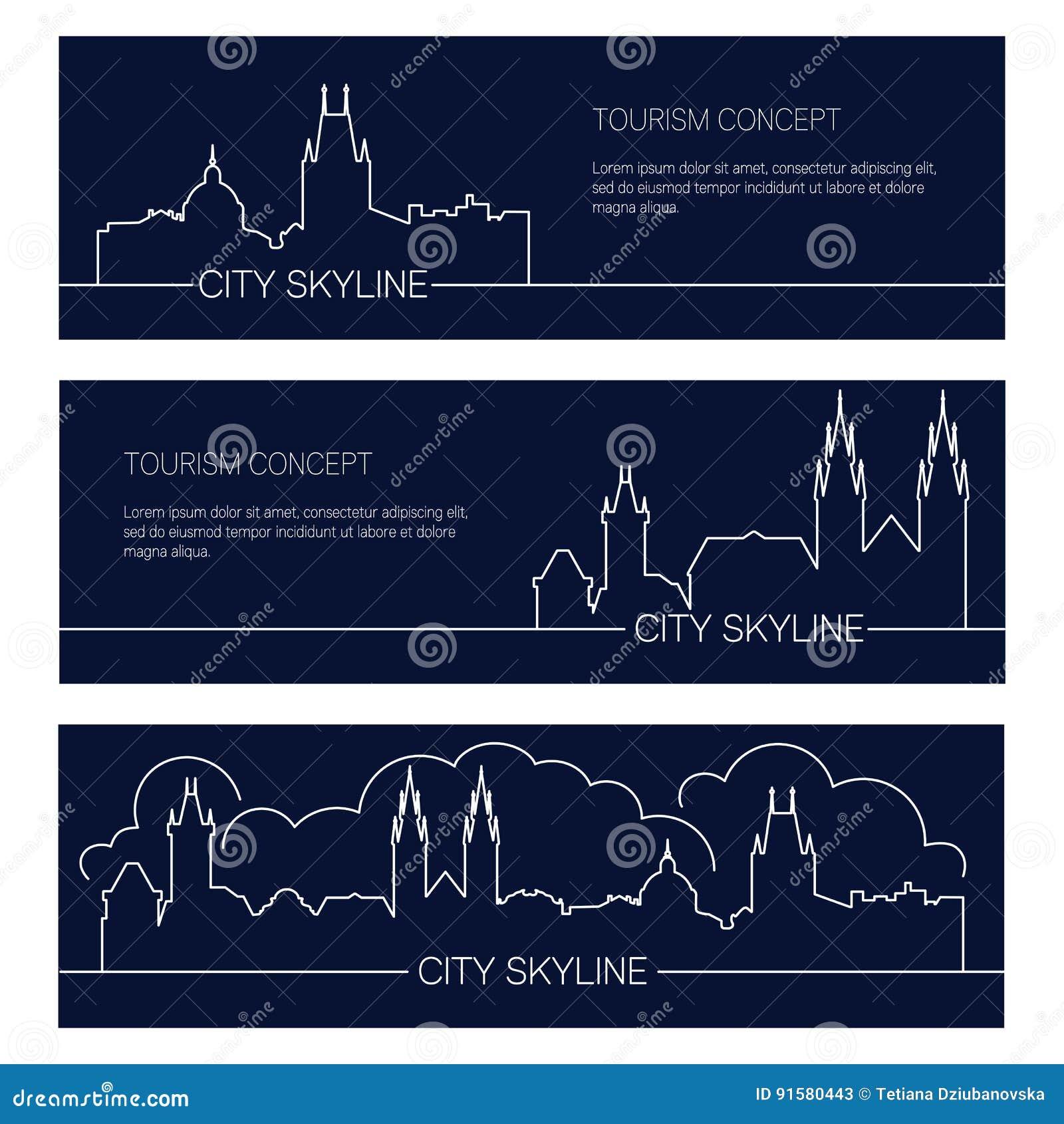 Grupo de bandeiras europeias da cidade Silhuetas lineares das arquiteturas da cidade
