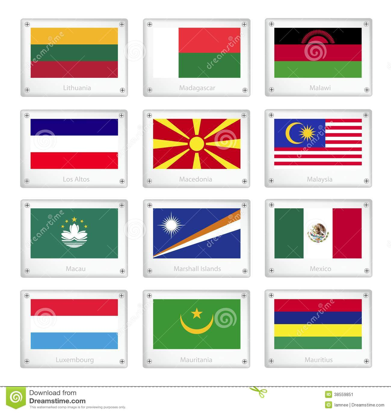 Grupo de bandeiras nacionais em placas da textura do metal