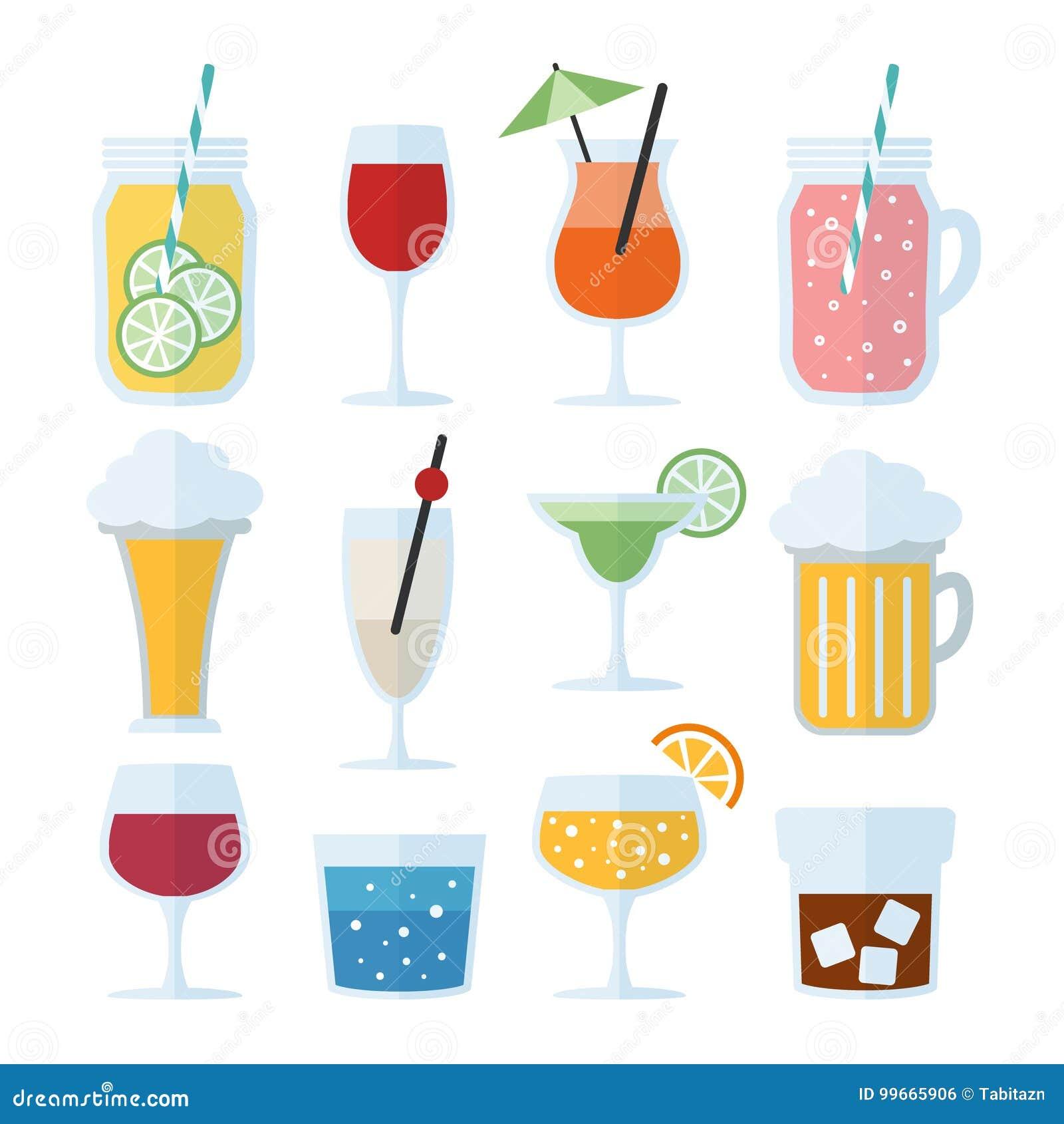 Grupo de bebidas alcoólicas, de vinho, de cerveja e de cocktail ícones do vetor, projeto liso