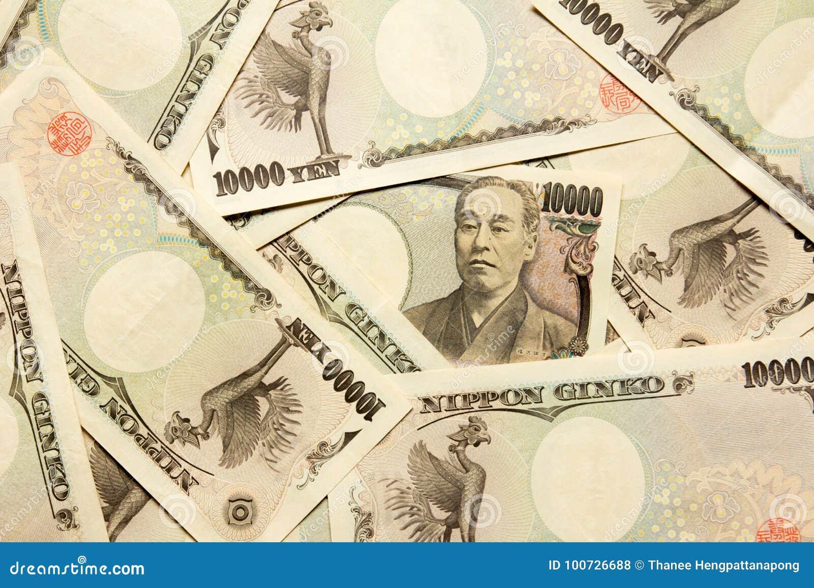Grupo de billete de banco japonés 10000 yenes