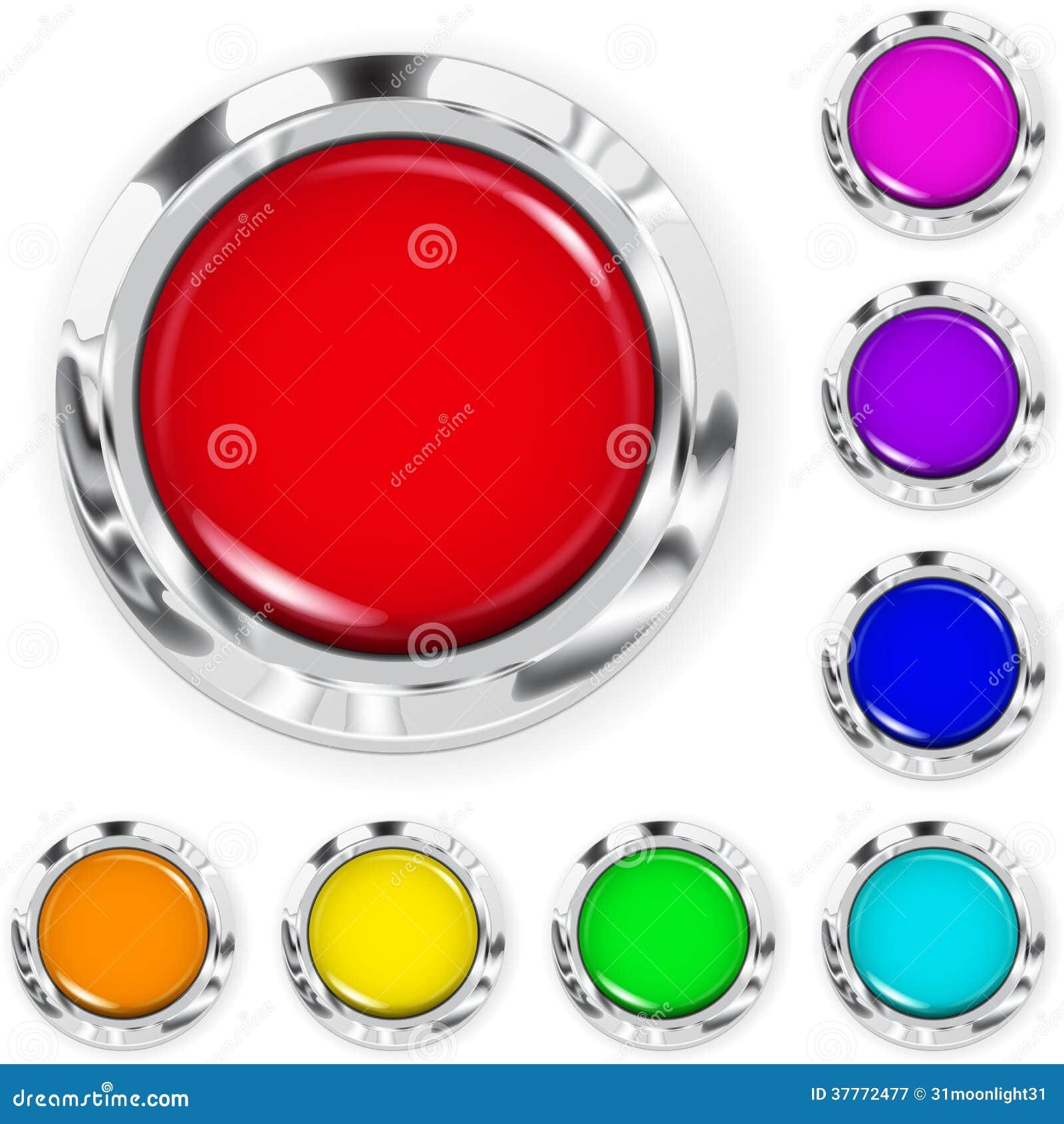 4ab31d787c Grupo de botões grandes coloridos realísticos feitos do plástico com beiras  metálicas