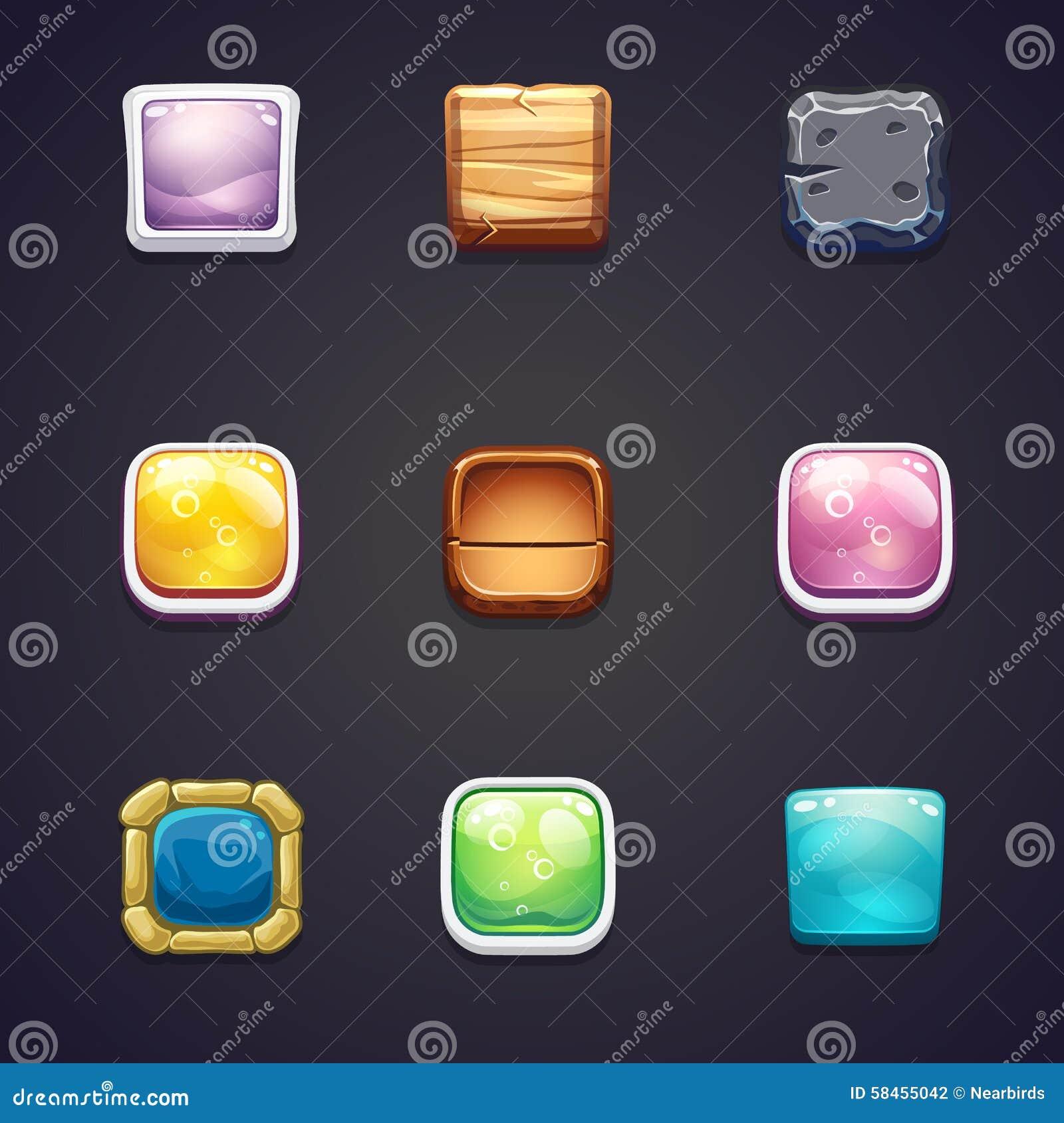 Grupo de botões quadrados de materiais diferentes para o design web e os jogos de computador