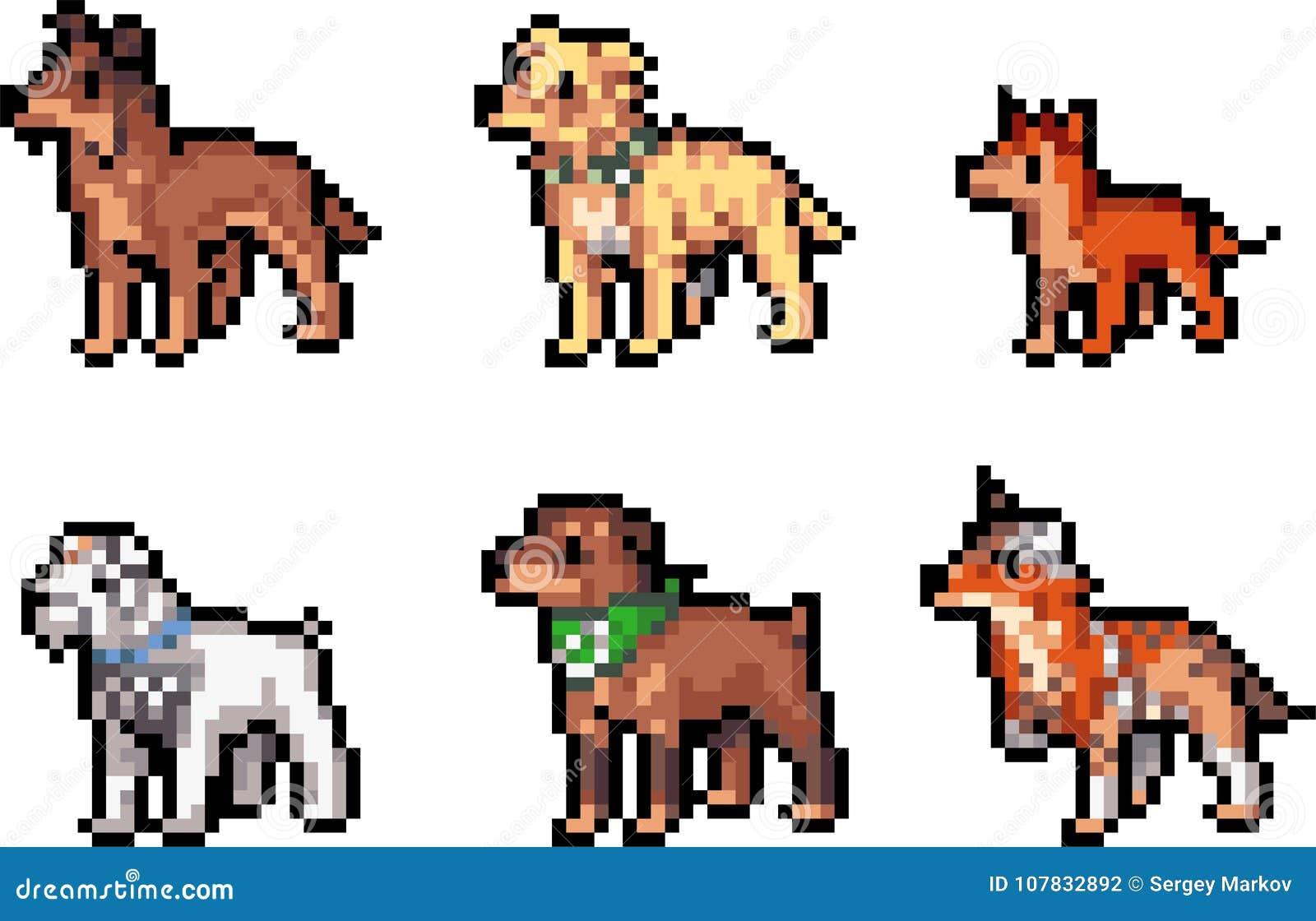 Grupo De Cães Do Pixel Ilustração Do Vetor Ilustração De